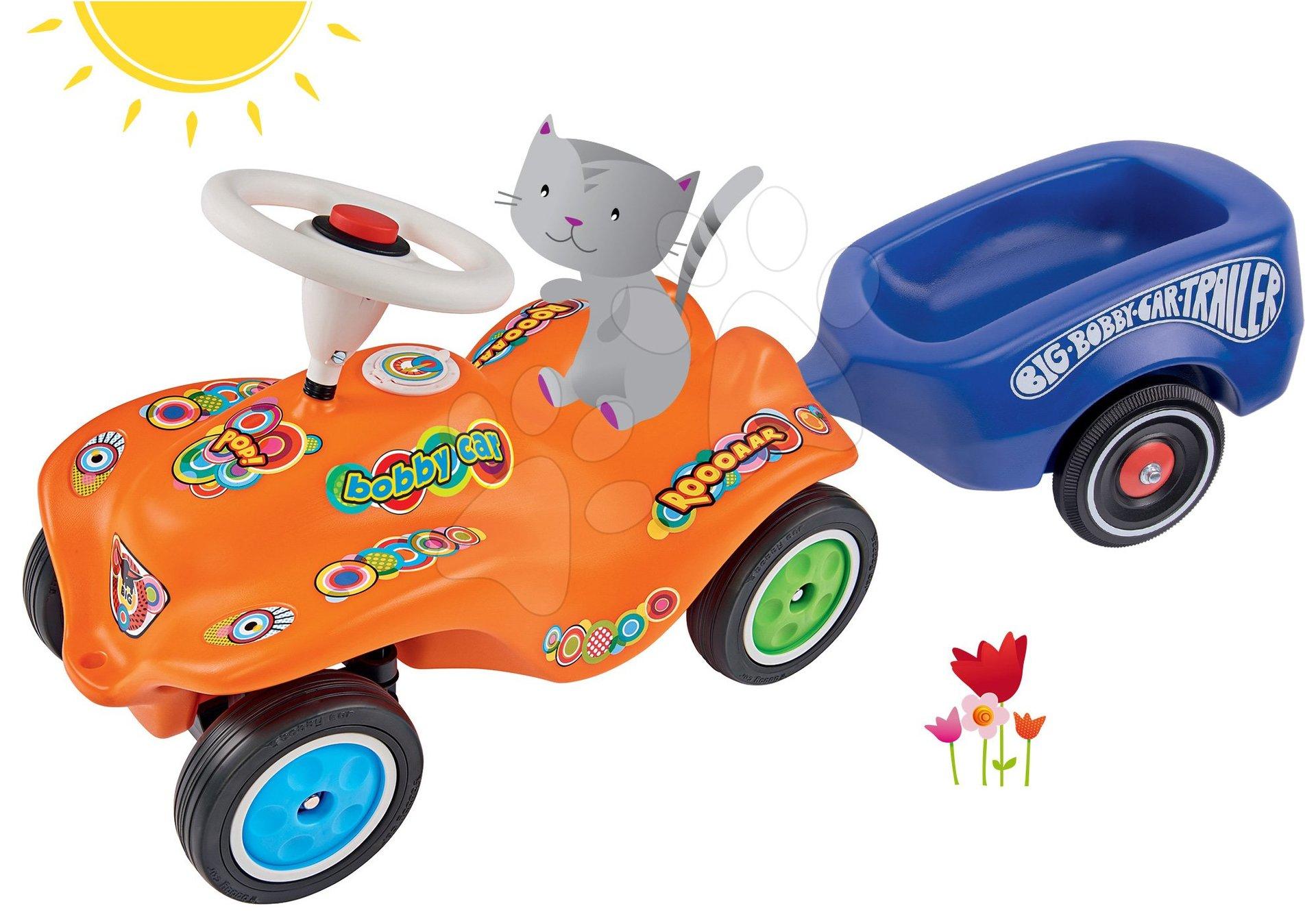 BIG set odrážadlo auto Retro Look New Bobby Car a prívesný vozík modrý 56162-3