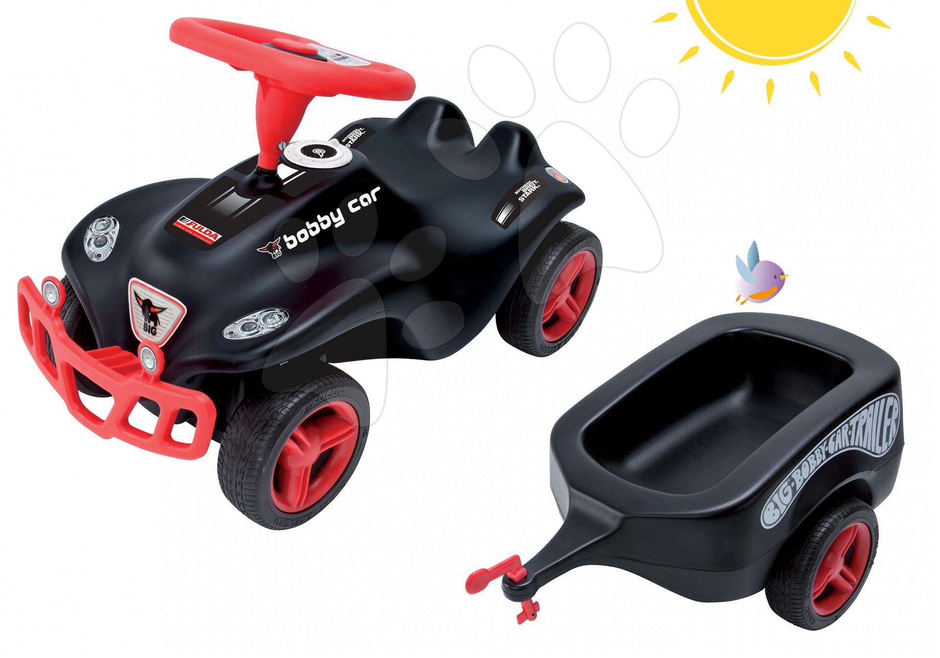Set babytaxiu maşină Fulda New Bobby Car BIG şi remorcă neagră de la 12 luni