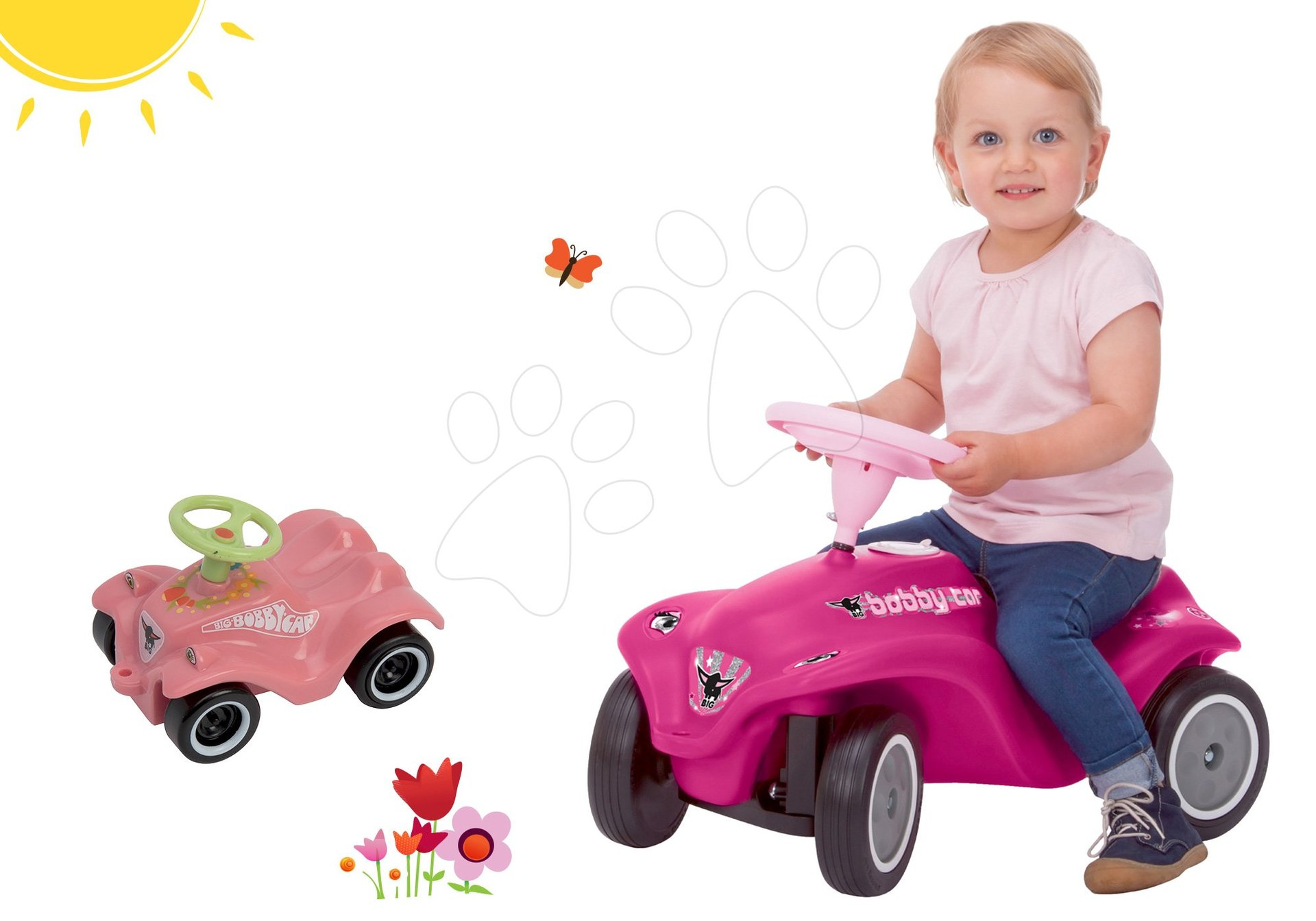 Set růžové odrážedlo New Bobby Minnie BIG s klaksonem a růžové skládací autíčko Mini Bobby od 12 měsíců