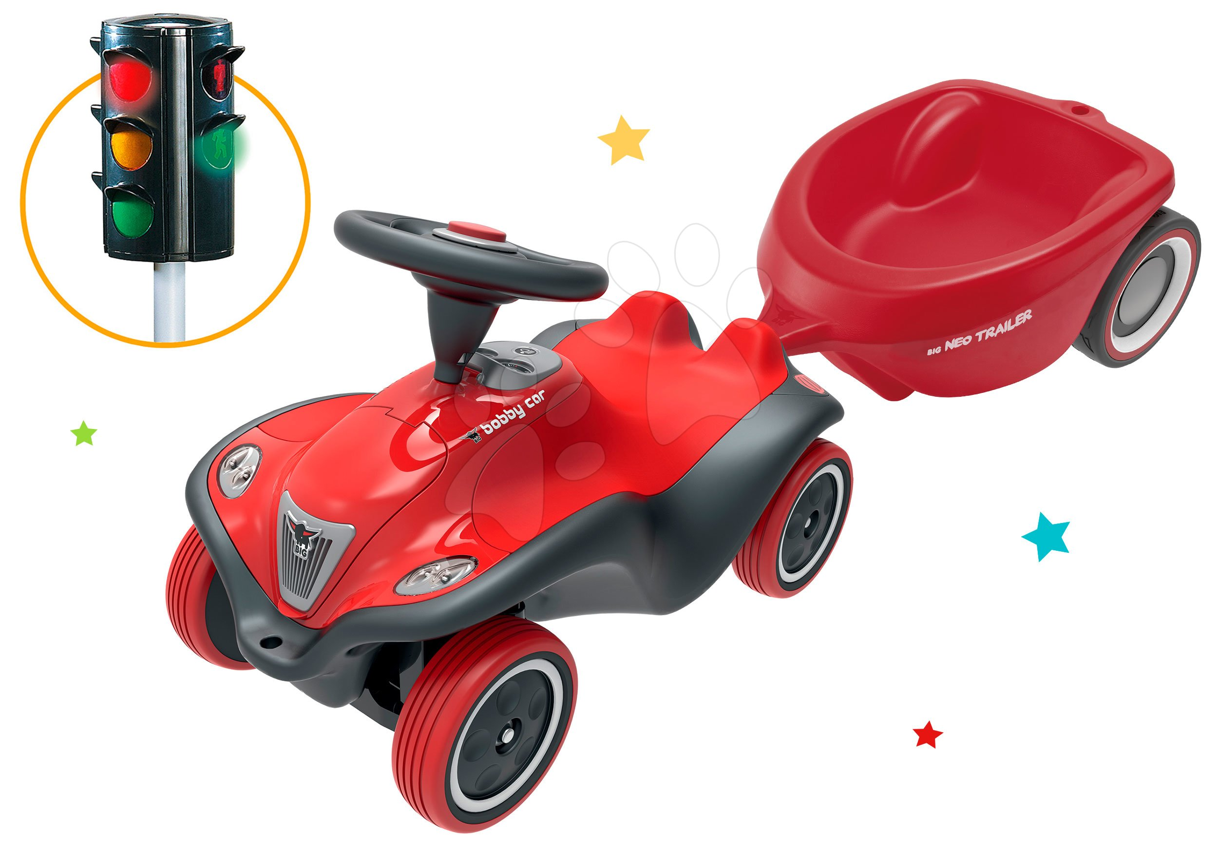 BIG set odrážedlo pro děti auto Next Bobby Car a přívěsný vozík oválný se světelným semaforem 56230-4
