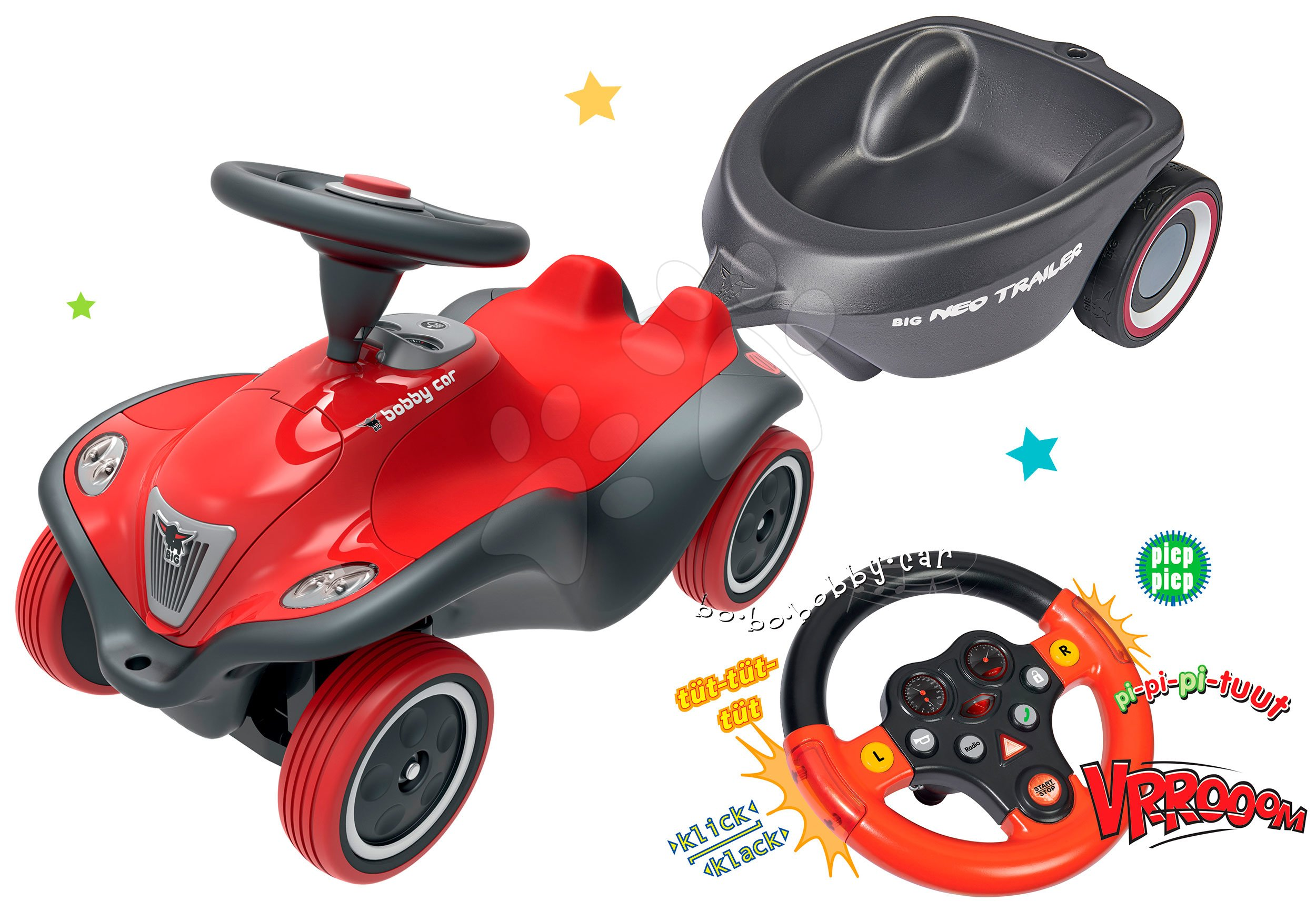 BIG set odrážedlo pro děti auto Next Bobby Car a interaktivní zvukový volant a přívěsný vozík 56230-5