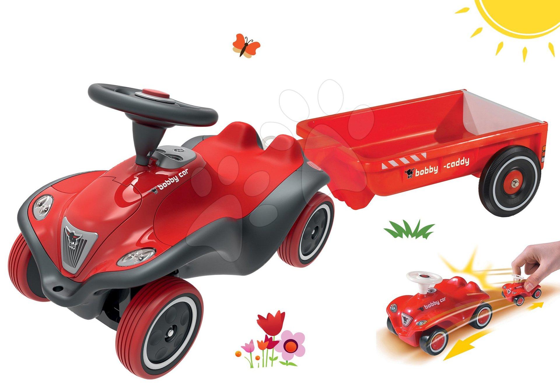 BIG set odrážedlo pro děti auto Next Bobby Car a přívěsný vozík hranatý s mini autíčkem 56230-6