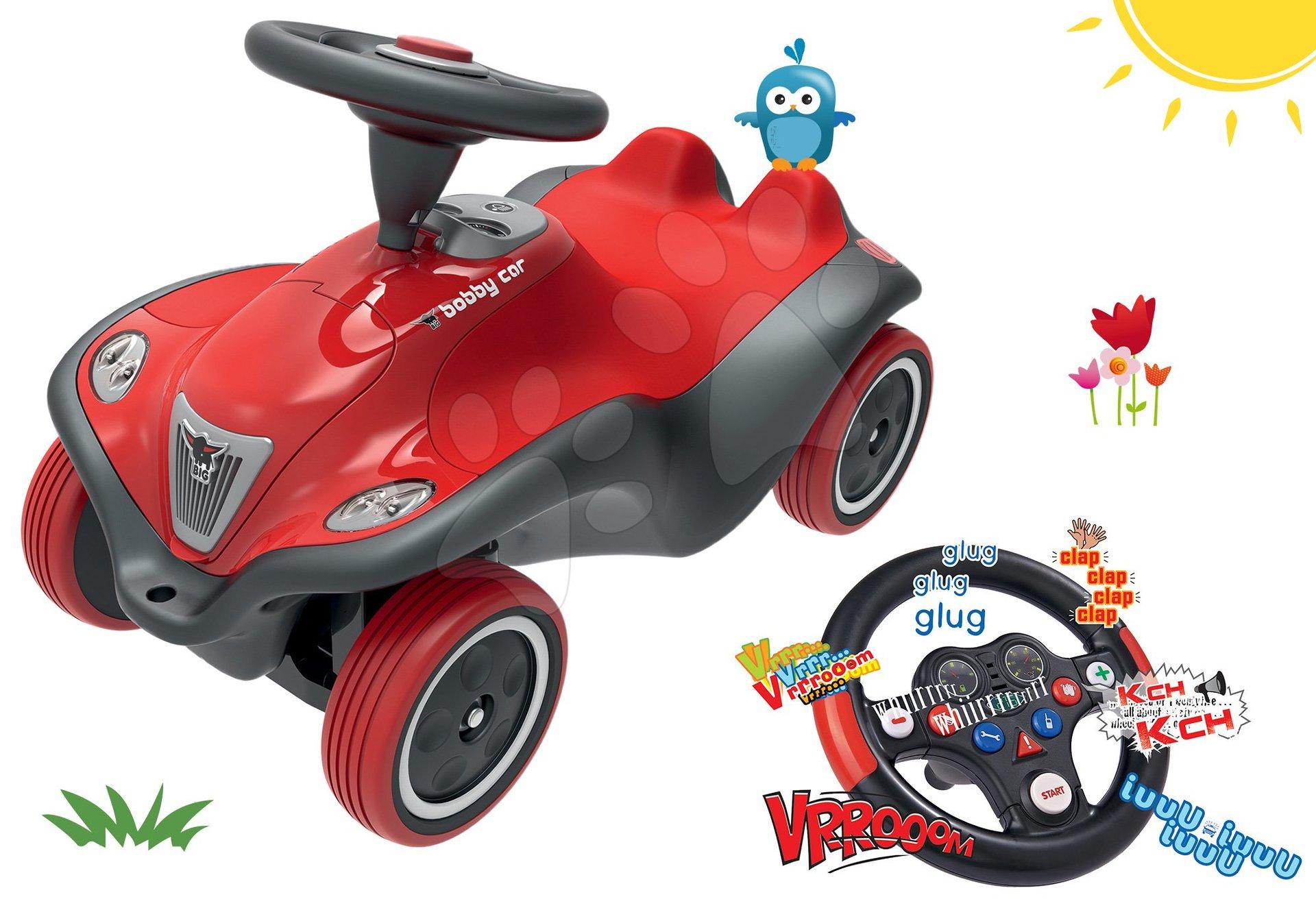 Set odrážedlo auto Next Bobby Car BIG červené a interaktivní závodní volant se zvuky od 12 měsíců
