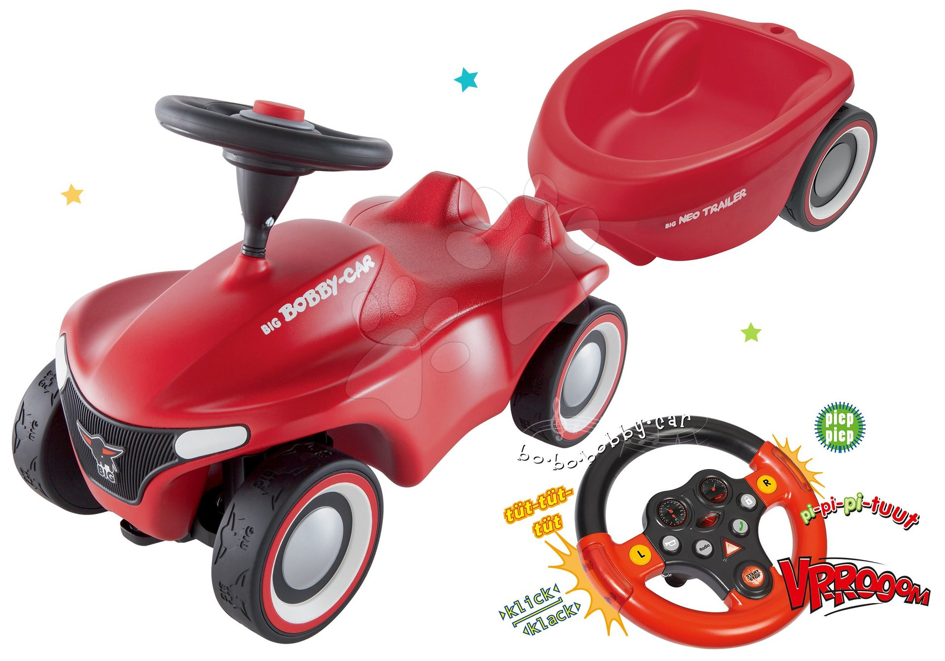 Set odrážadlo Bobby Car Neo BIG červené zvukové s 3-vrstvovými gumovými kolesami a prívesný vozík a volant so zvukom a svetlom