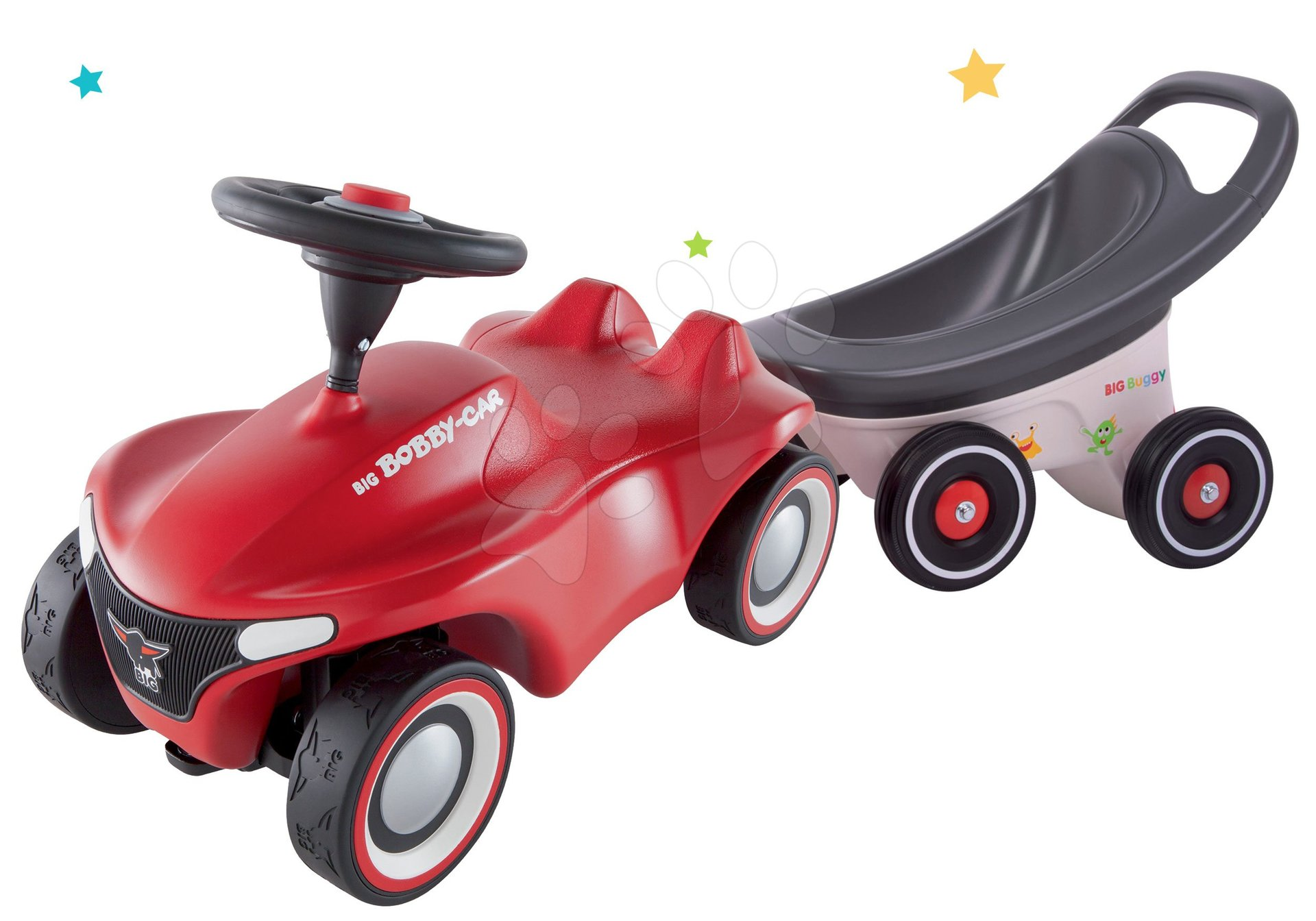 Set babytaxiu Bobby Car Neo Big roșie cu sunete, roți de cauciuc cu 3 straturi și remorcă Buggy 3în1 cu funcții