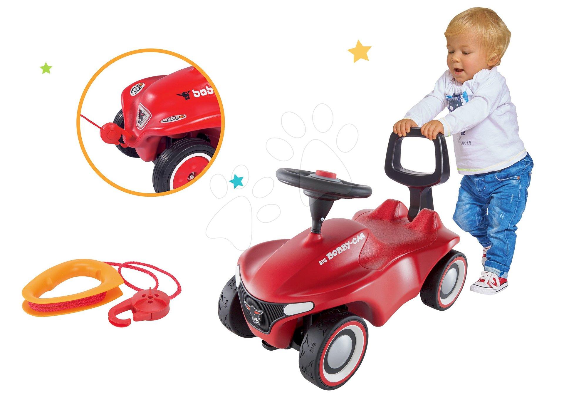 Set babytaxiu Bobby Car Neo Big roșie cu sunete, roți de cauciuc cu 3 straturi și spătar cu premergător cu șnur