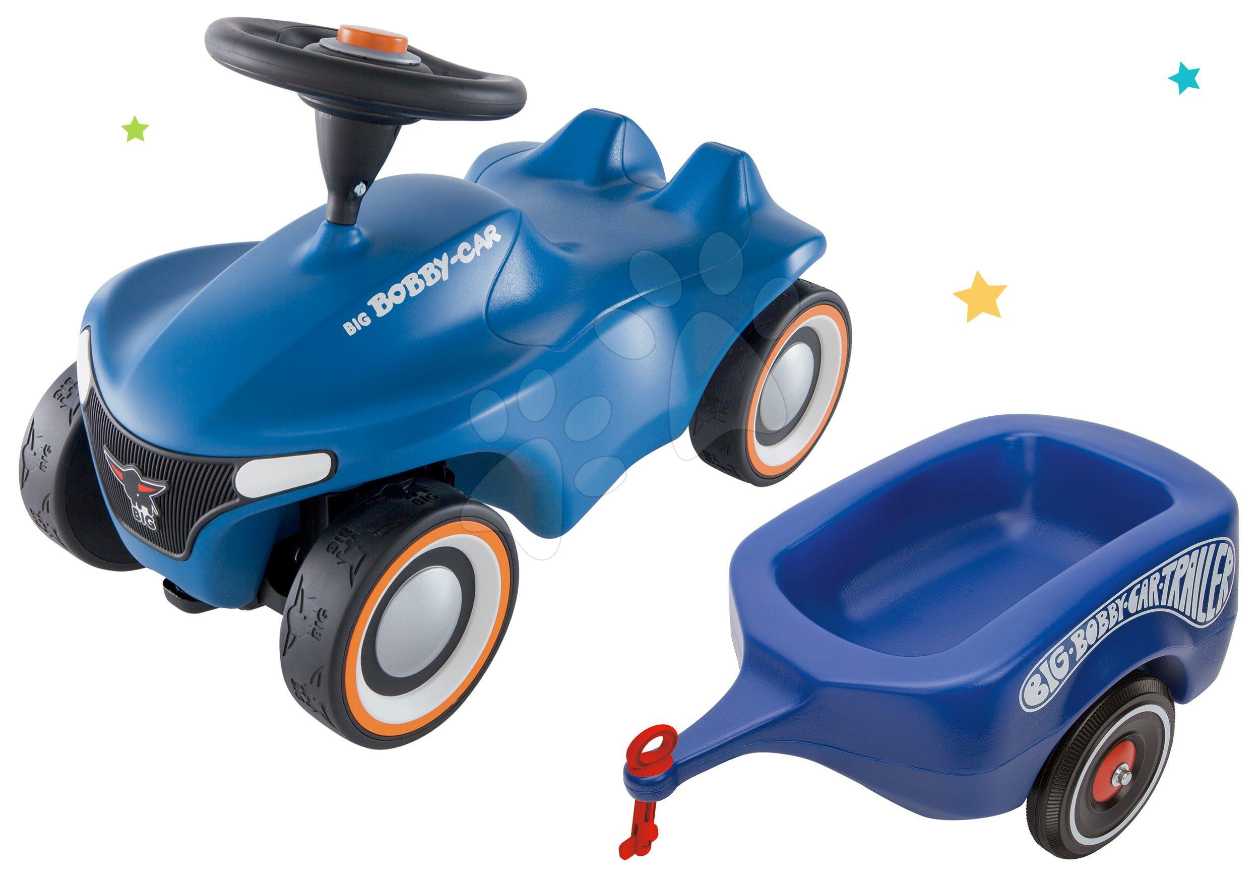 Set odrážadlo Bobby Car Neo BIG modré zvukové s 3-vrstvovými gumovými kolesami a prívesný vozík modrý