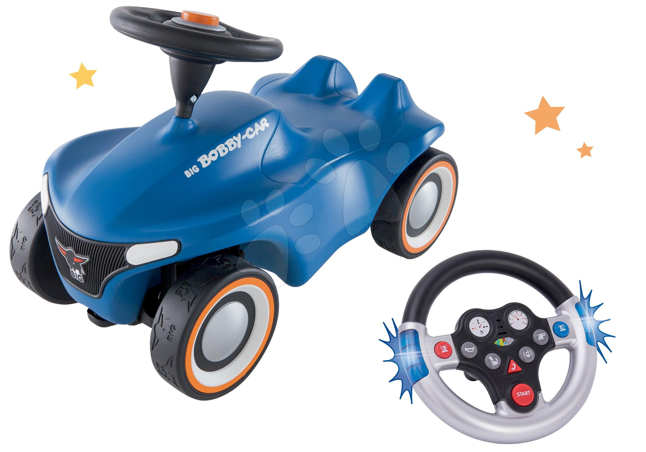 Set odrážadlo Bobby Car Neo BIG modré zvukové s 3-vrstvovými gumovými kolesami a s volantom so zvukom a svetlom
