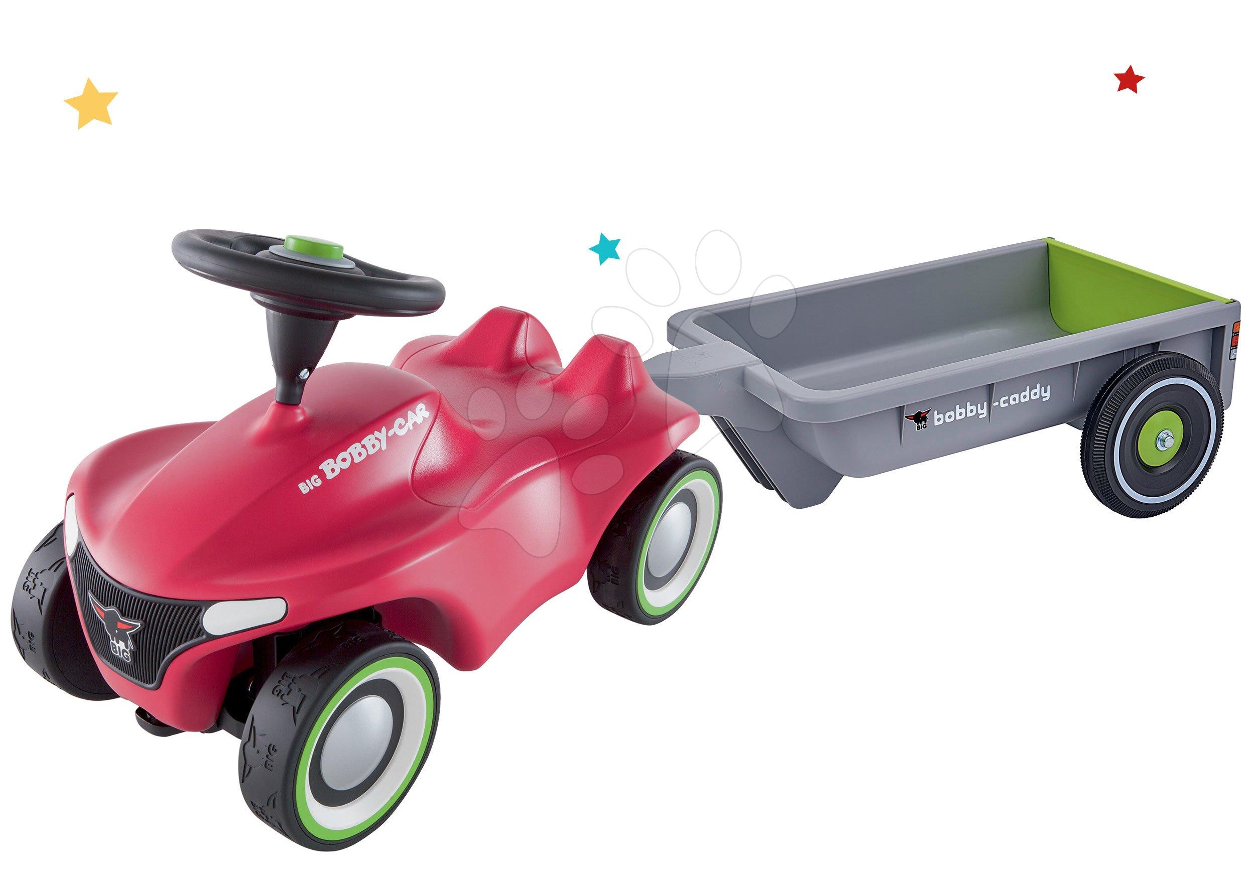 Set odrážadlo Bobby Car Neo BIG ružové zvukové s 3-vrstvovými gumovými kolesami s hranatým vozíkom šedo-zelený