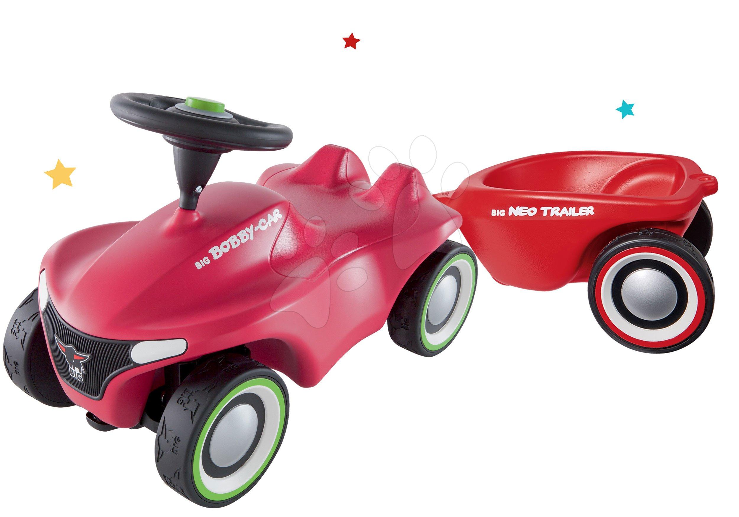 Set odrážadlo Bobby Car Neo BIG ružové, zvukové s 3-vrstvovými gumovými kolesami a prívesný vozík