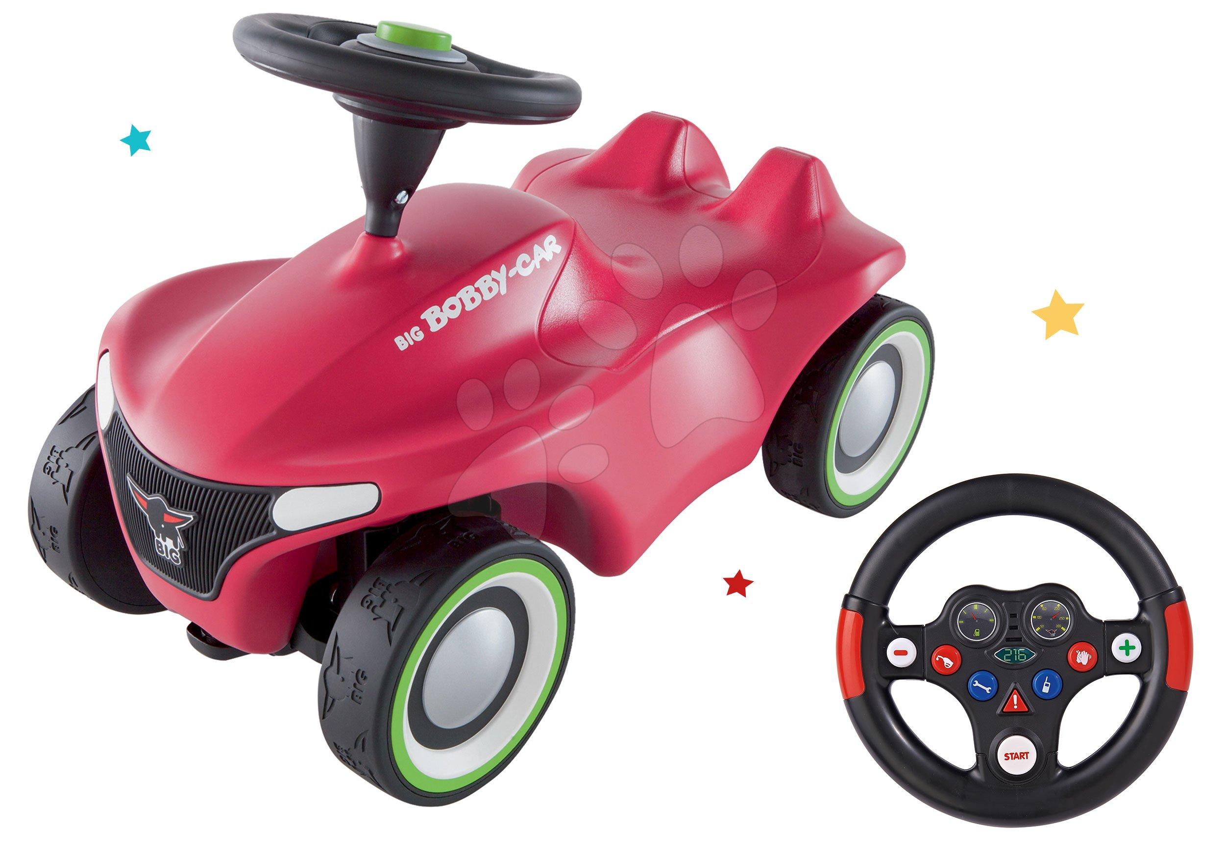 Set odrážadlo Bobby Car Neo BIG ružové zvukové s 3-vrstvovými gumovými kolesami a interaktívny volant so zvukmi