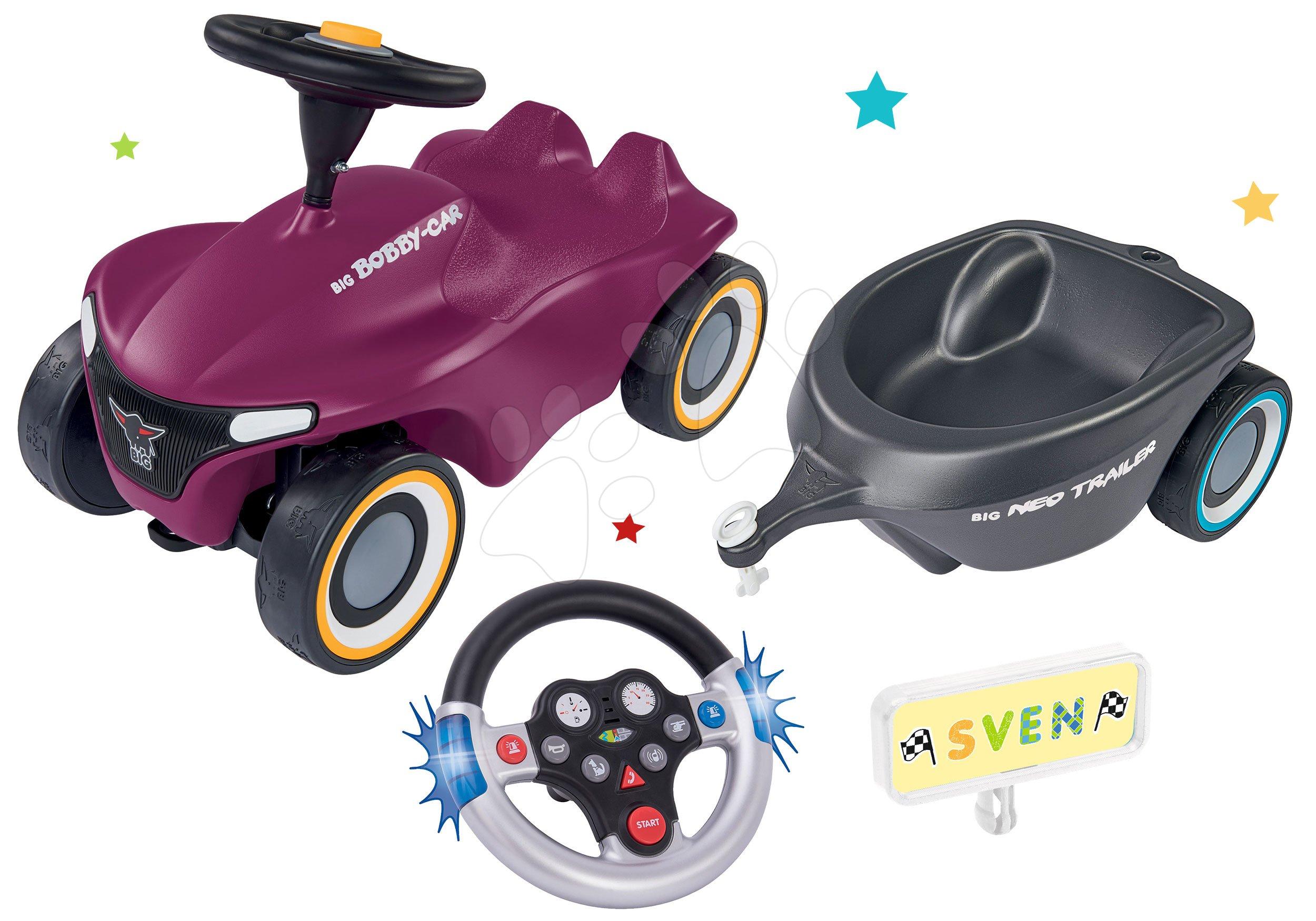 Odrážadlá od 12 mesiacov - Set odrážadlo Bobby Car Neo Aubergine BIG zvukové s 3-vrstvovými gumovými kolesami a interaktívny elektronický volant a oválny vozík so značkami