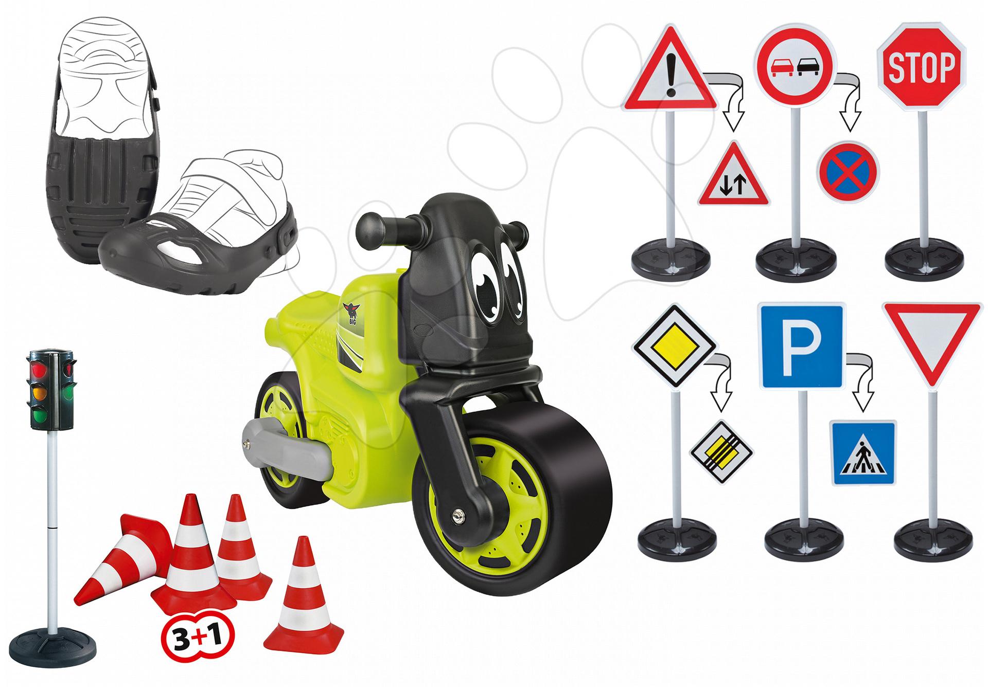 Odrážedlo motorka Racing Bike BIG a ochranné návleky, dopravní značky, semafor, silniční kužely od 18 měsíců
