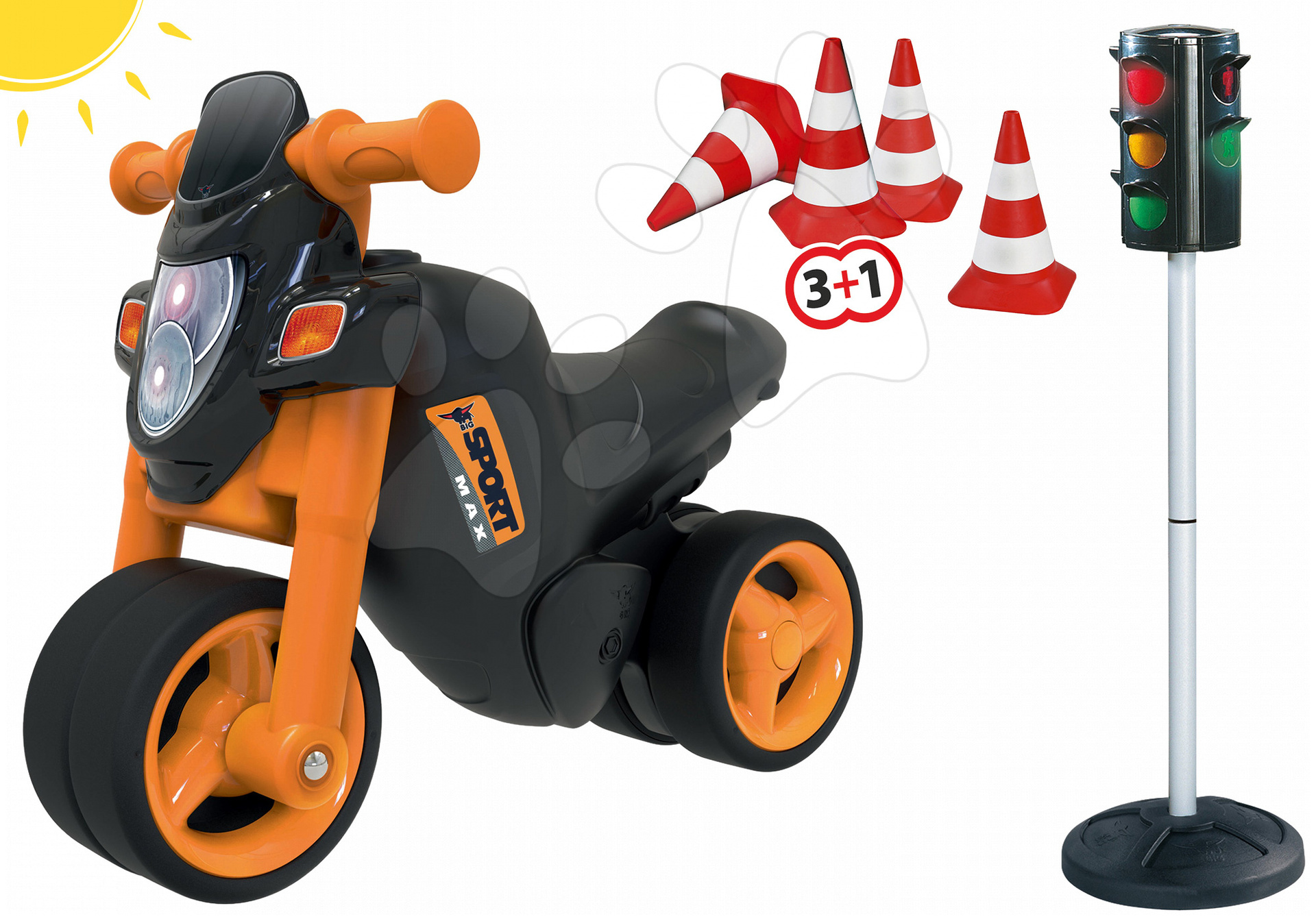 Set hraček odrážedlo Sport Bike BIG a semafor a kužely