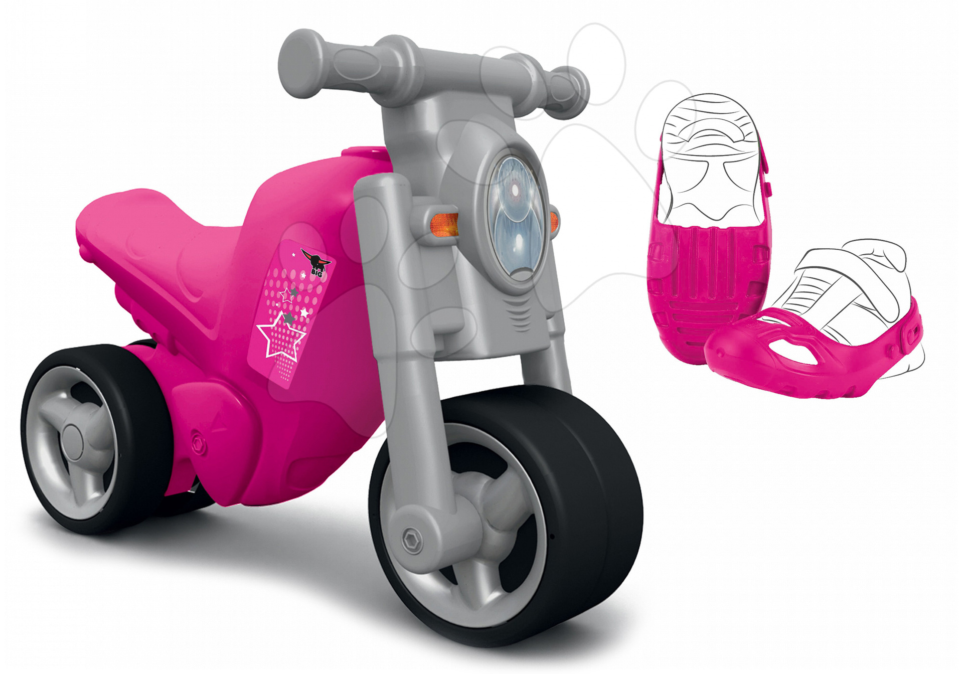 Set hračiek odrážadlo a ochranné návleky BIG 56362-1 ružové