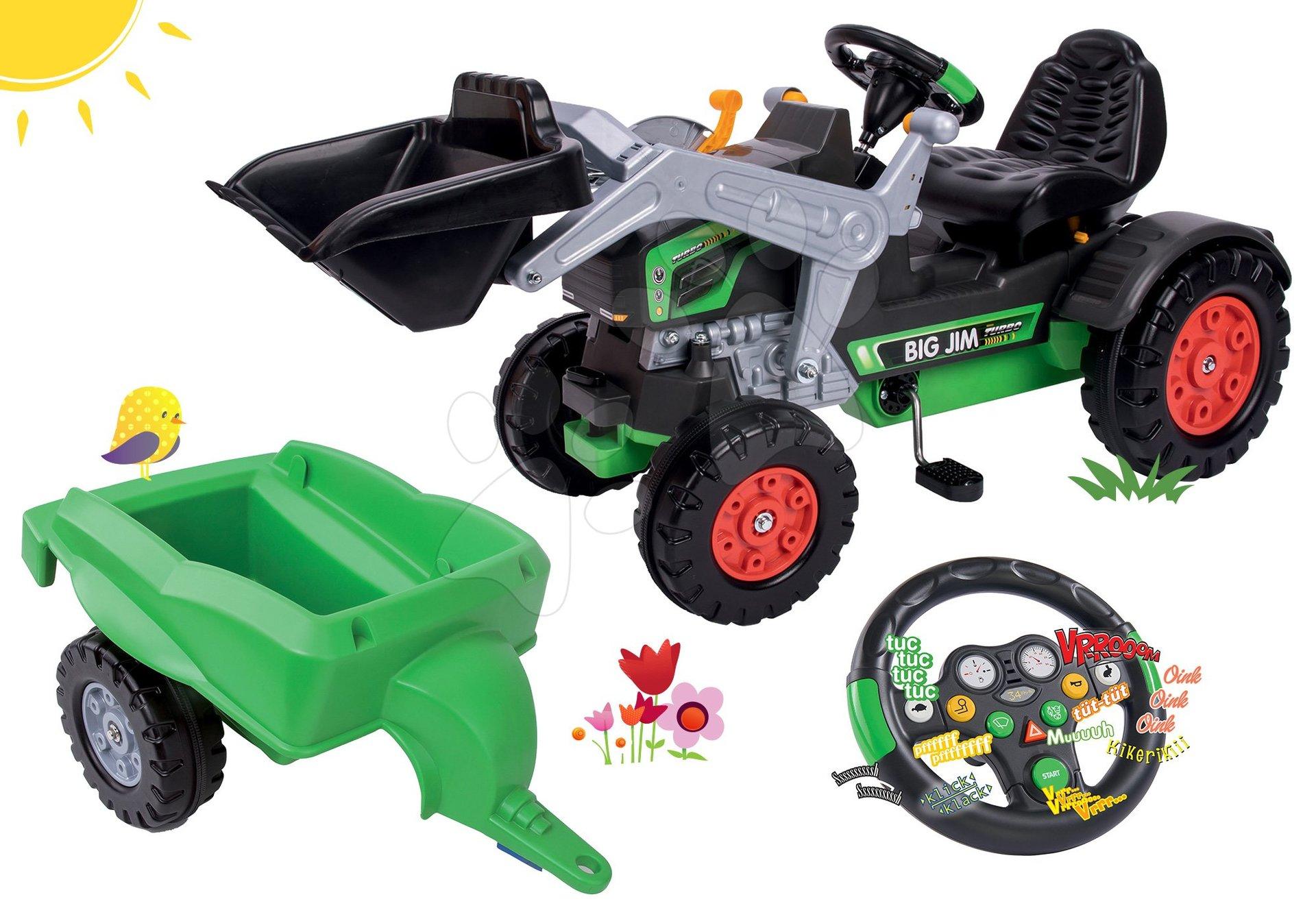 Set tractor cu pedale cu încărcător frontal BIG Jim Turbo cu volan interactiv şi remorcă