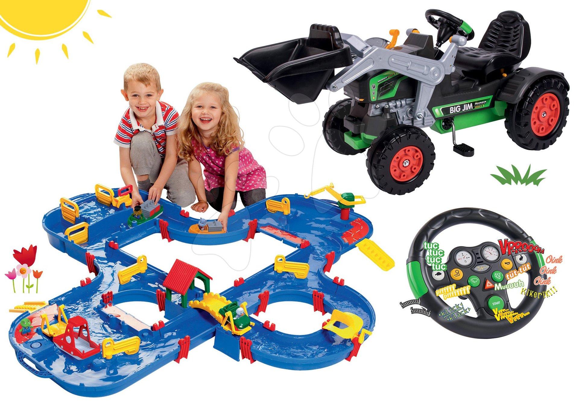 Set šliapací traktor nakladač Jim Turbo BIG s interaktívnym volantom a vodná dráha Aquaplayn Go