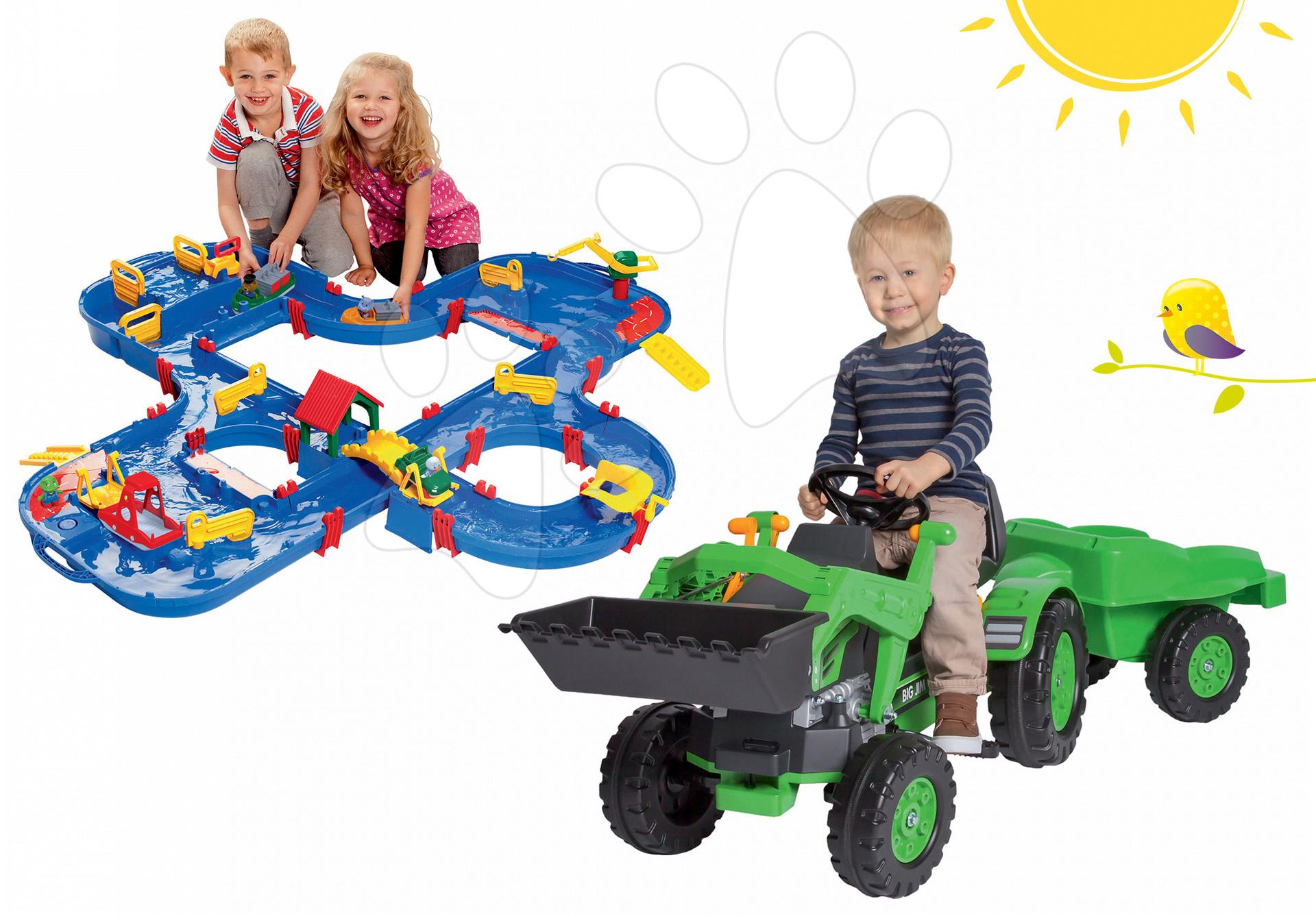 Set traktor na šliapanie Jim Loader BIG s nakladačom a prívesom a vodná dráha Aquaplay'n Go v kufríku