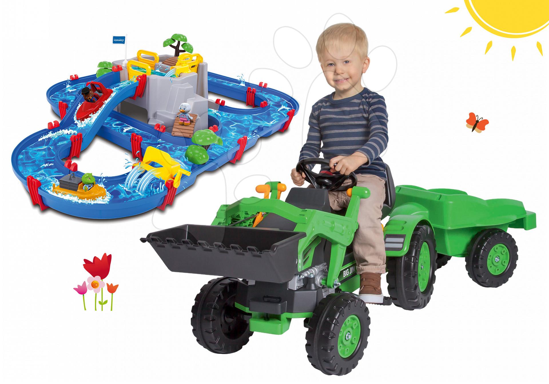 Set traktor na šliapanie Jim Loader BIG s nakladačom a prívesom a vodná dráha Mountain Lake