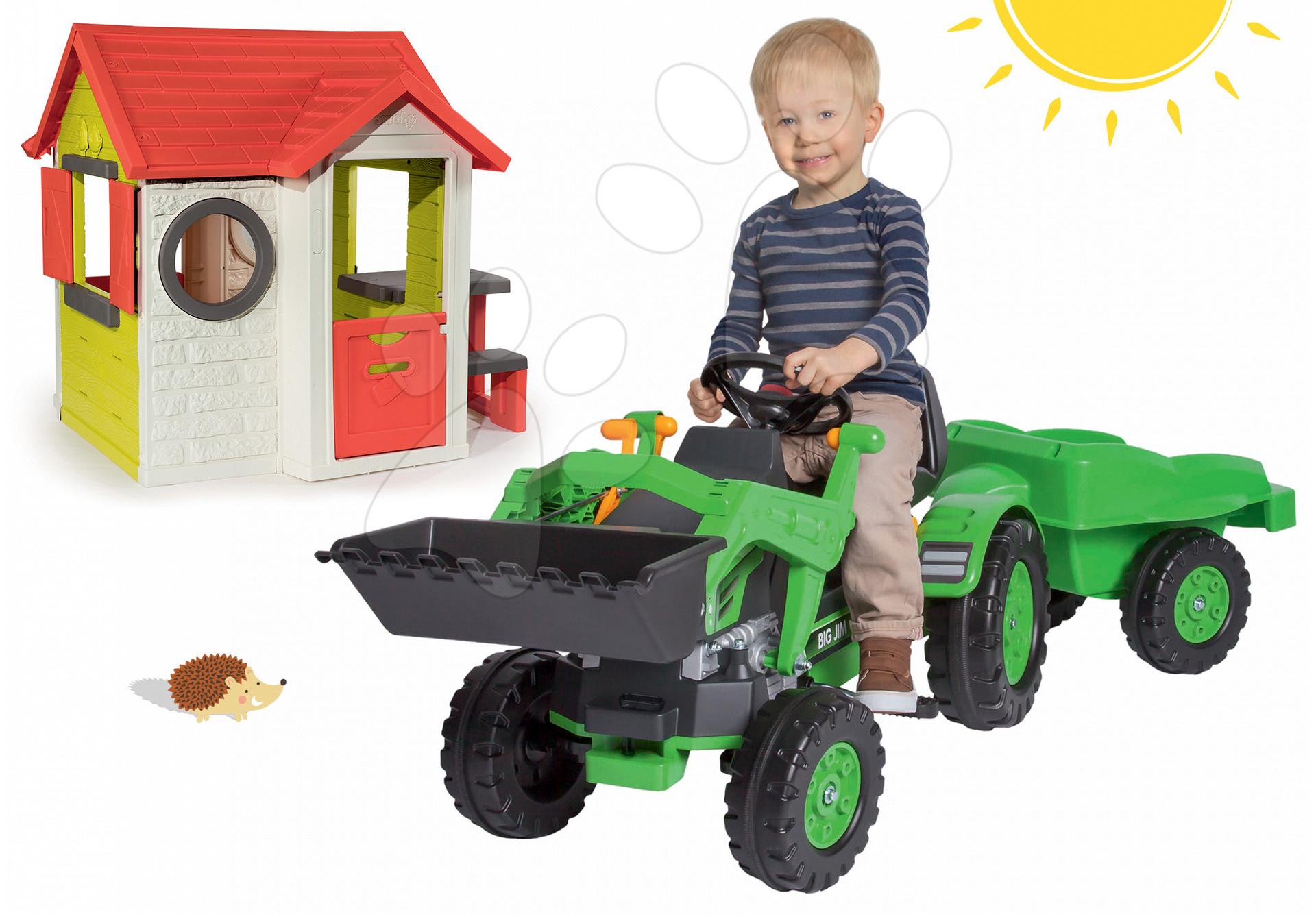 Set traktor na šliapanie Jim Loader BIG s nakladačom a prívesom a domček My House