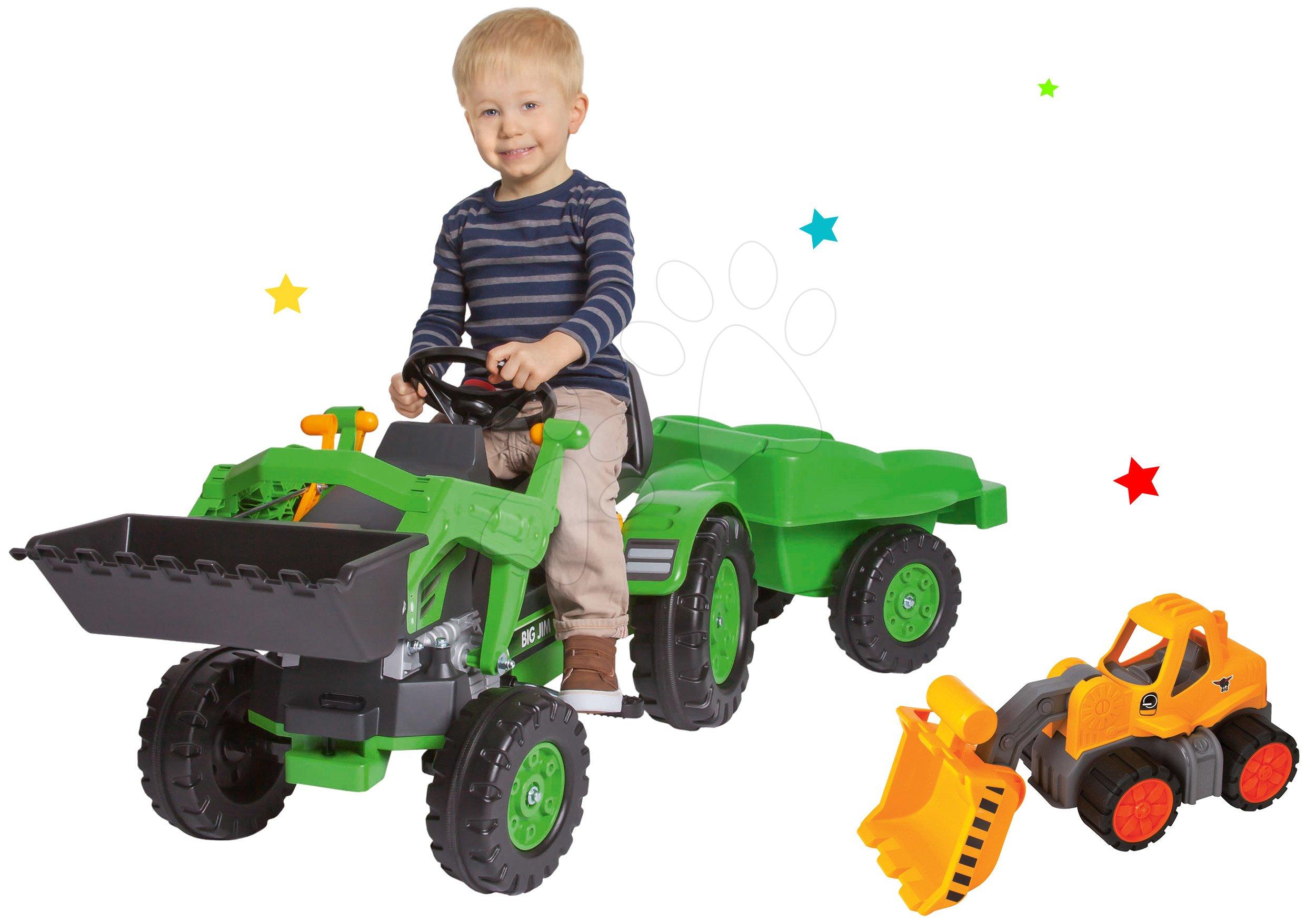 Set tractor cu pedale Jim Loader BIG cu încărcător frontal şi remorcă şi tractor Power