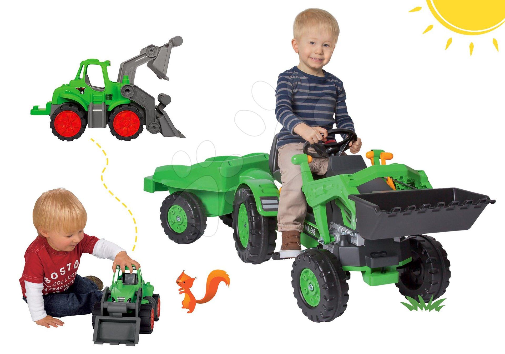 Komplet traktor na pedala Jim Loader BIG z nakladalnikom in prikolico in traktor Power BIG z nakladalnikom in prikolico za darilo