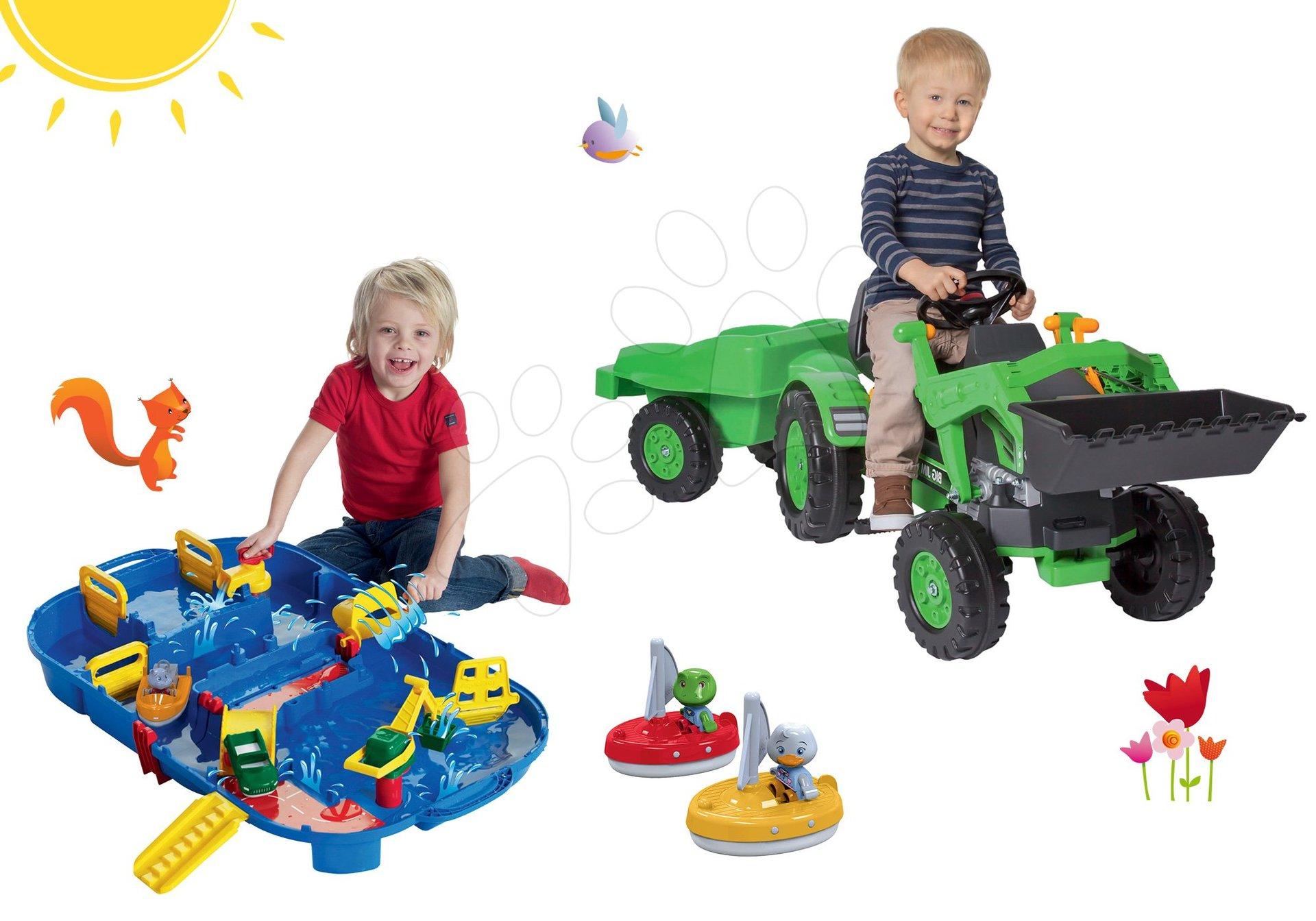 Set šliapací traktor Jim Loader BIG s nakladačom a prívesom a vodná dráha Aquaplay Lock Box v kufríku s loďkami
