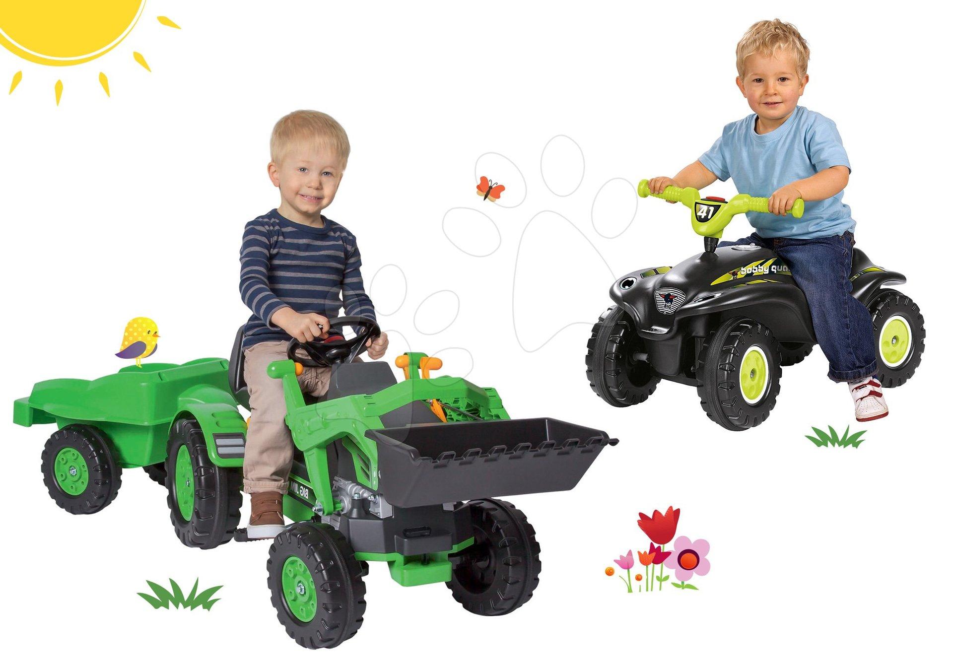Set šľapací traktor Jim Loader BIG s nakladačom a prívesom a odrážadlo štvorkolka Quad s klaksónom