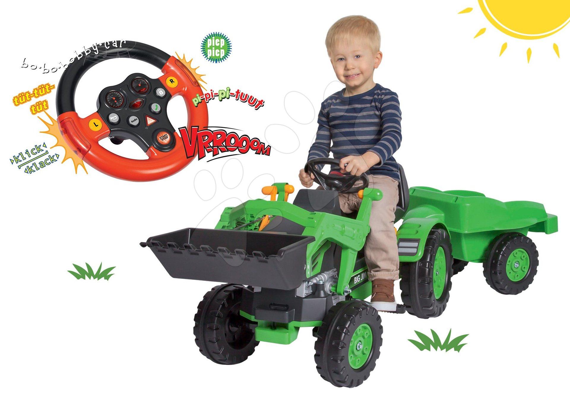 BIG set šľapací traktor Jim Loader s nakladačom a prívesom a interaktívny volant Auto so zvukom a svetlom 56516-9