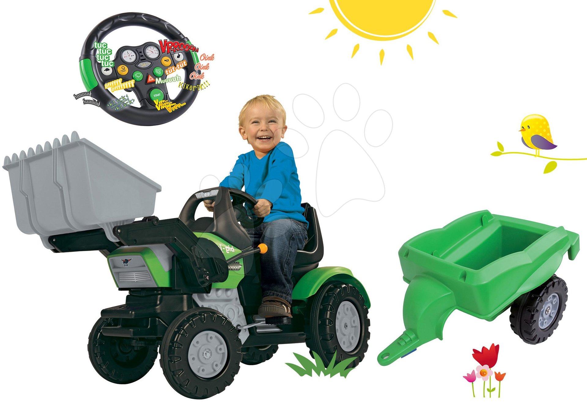 Set šliapací traktor John XL BIG s nakladačom s prívesom a interaktívny volant so zvukom