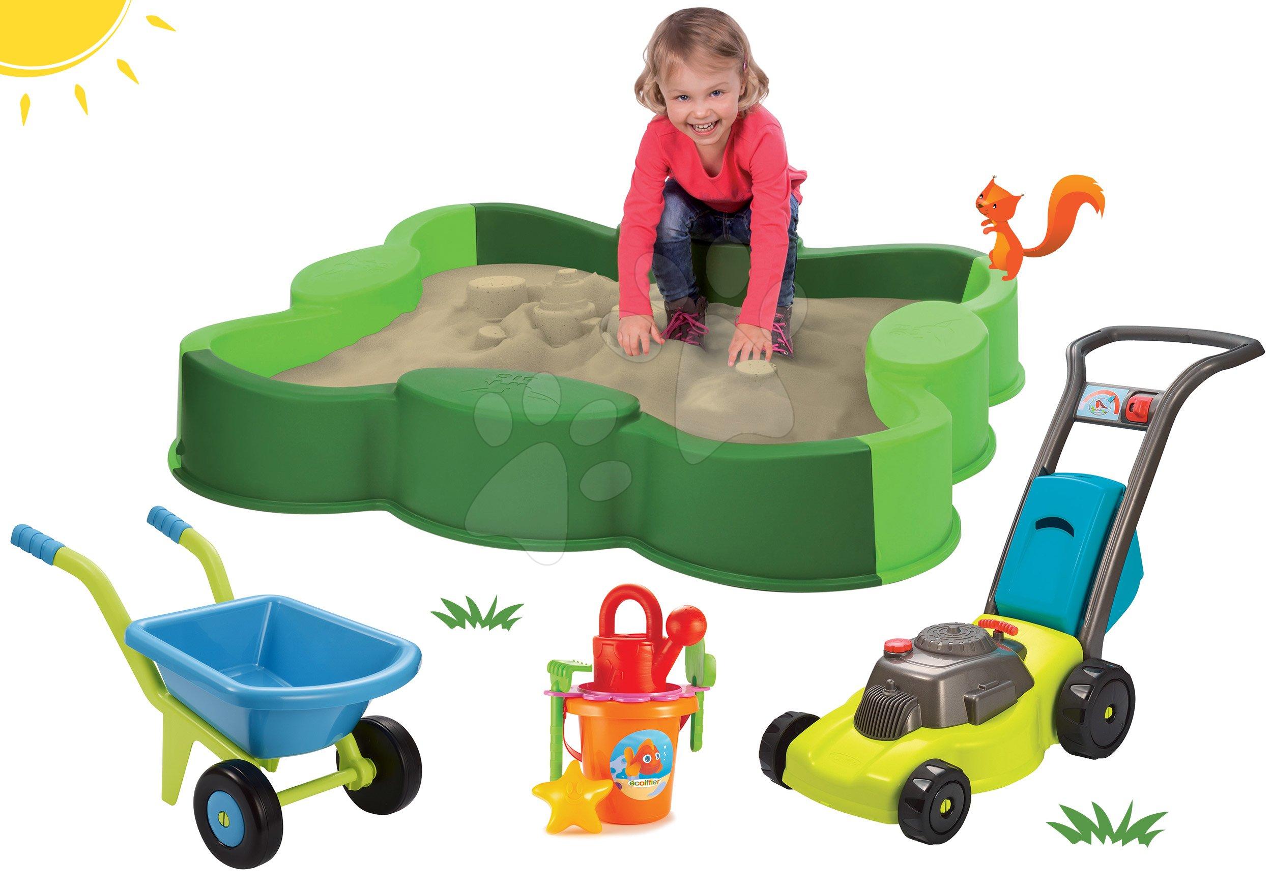 Set pískoviště Vario s plachtou BIG a kolečko s kbelík setem a sekačka na trávu od 12 měsíců