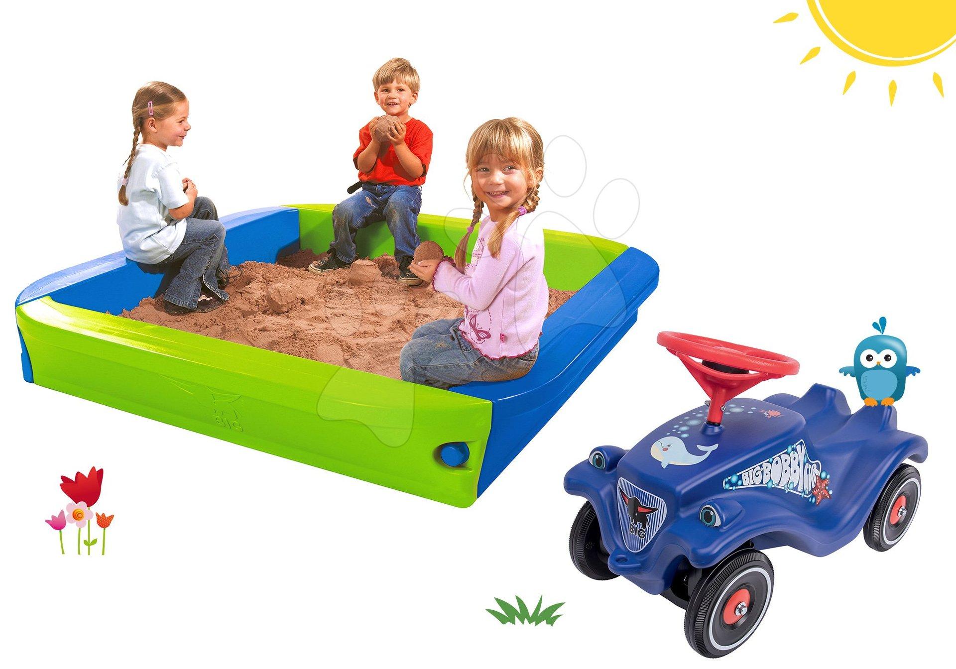 BIG set pískoviště s krycí plachtou a odrážedlo auto Ocean Bobby Car Classic s klaksonem 56726-14