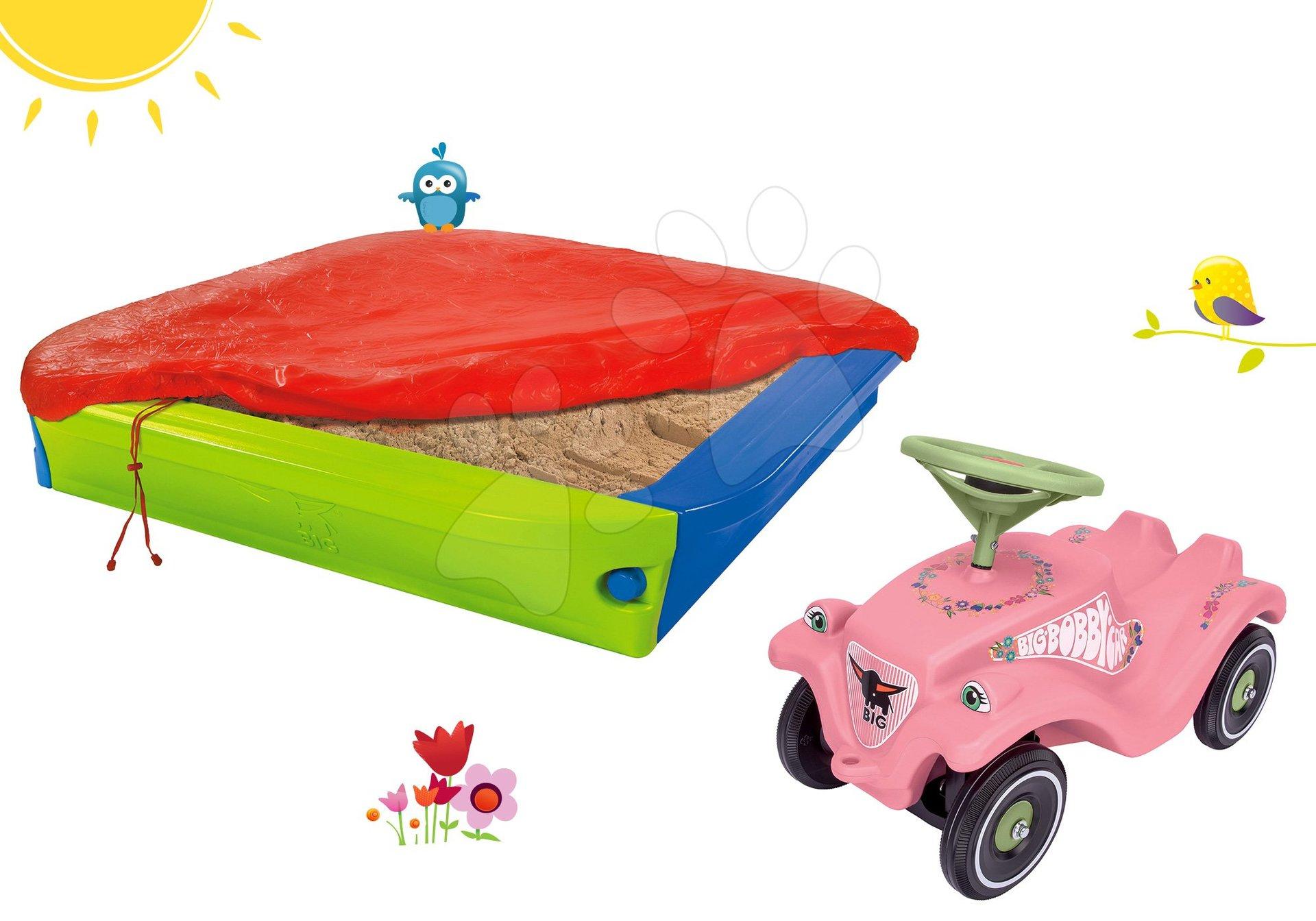 BIG set pískoviště s krycí plachtou a odrážedlo auto Flower Bobby Car Classic s klaksonem 56726-15
