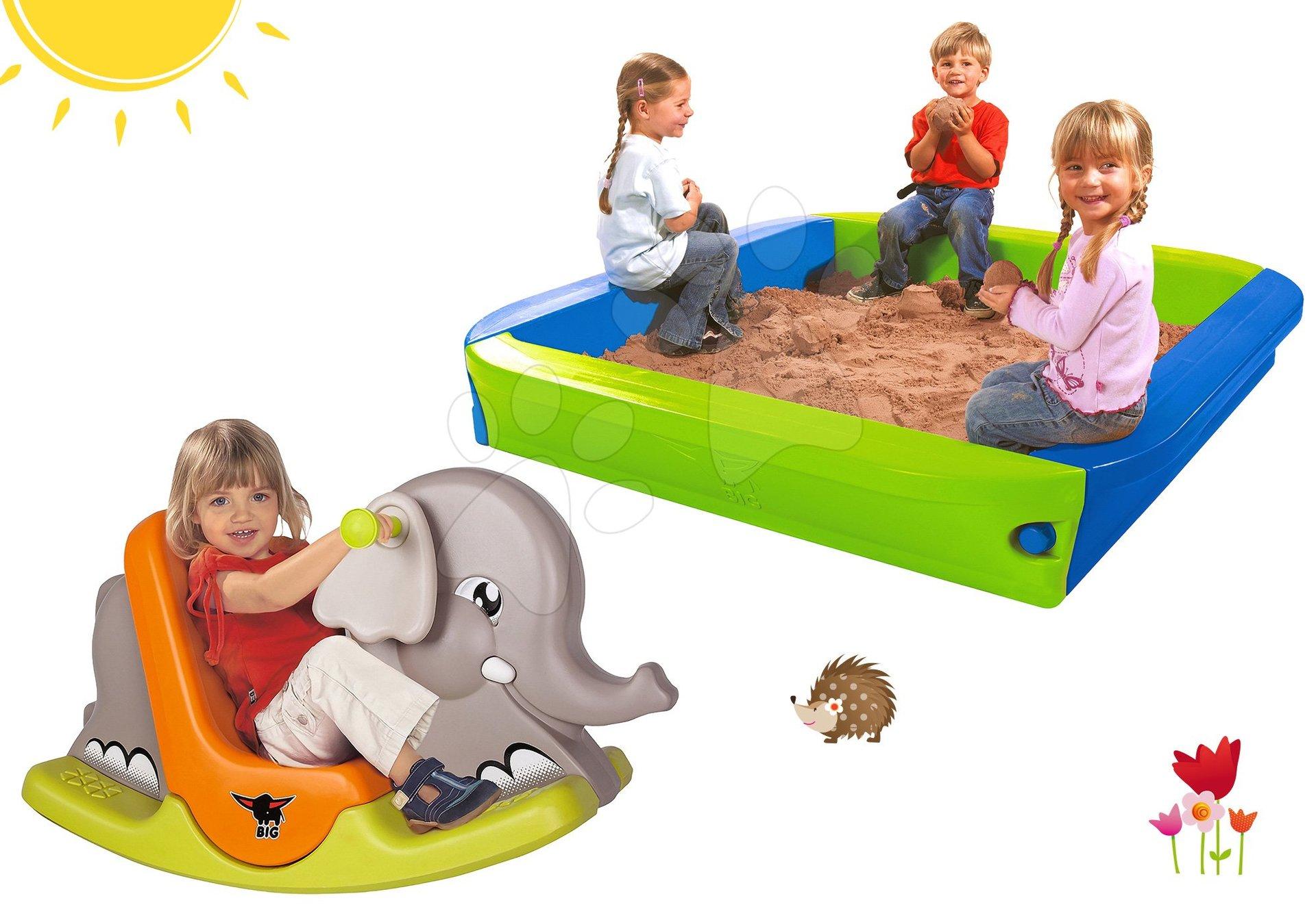 Set pieskovisko BIG s krycou plachtou a hojdačka Slon s pohyblivými ušami od 12 mes