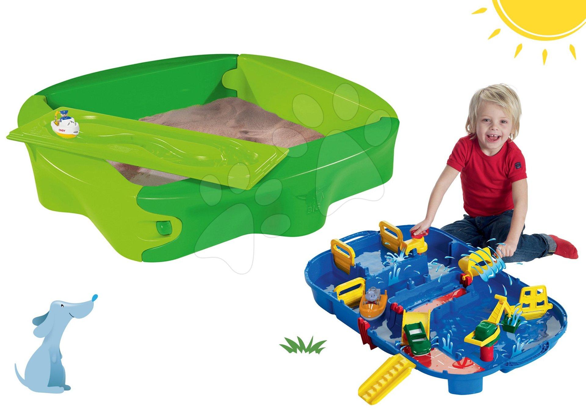 BIG set pieskovisko Sandy s pevným krytom a vodná dráha pre deti AquaPlay LockBox v kufríku 56733-9