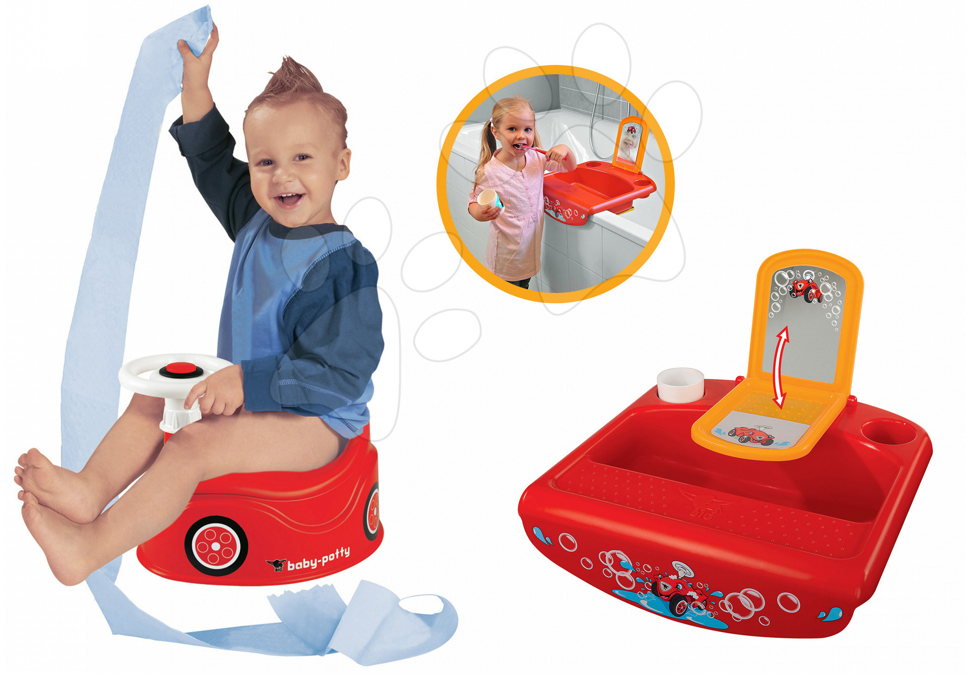 BIG detský nočník Autíčko s detským umývadlom 56801-1