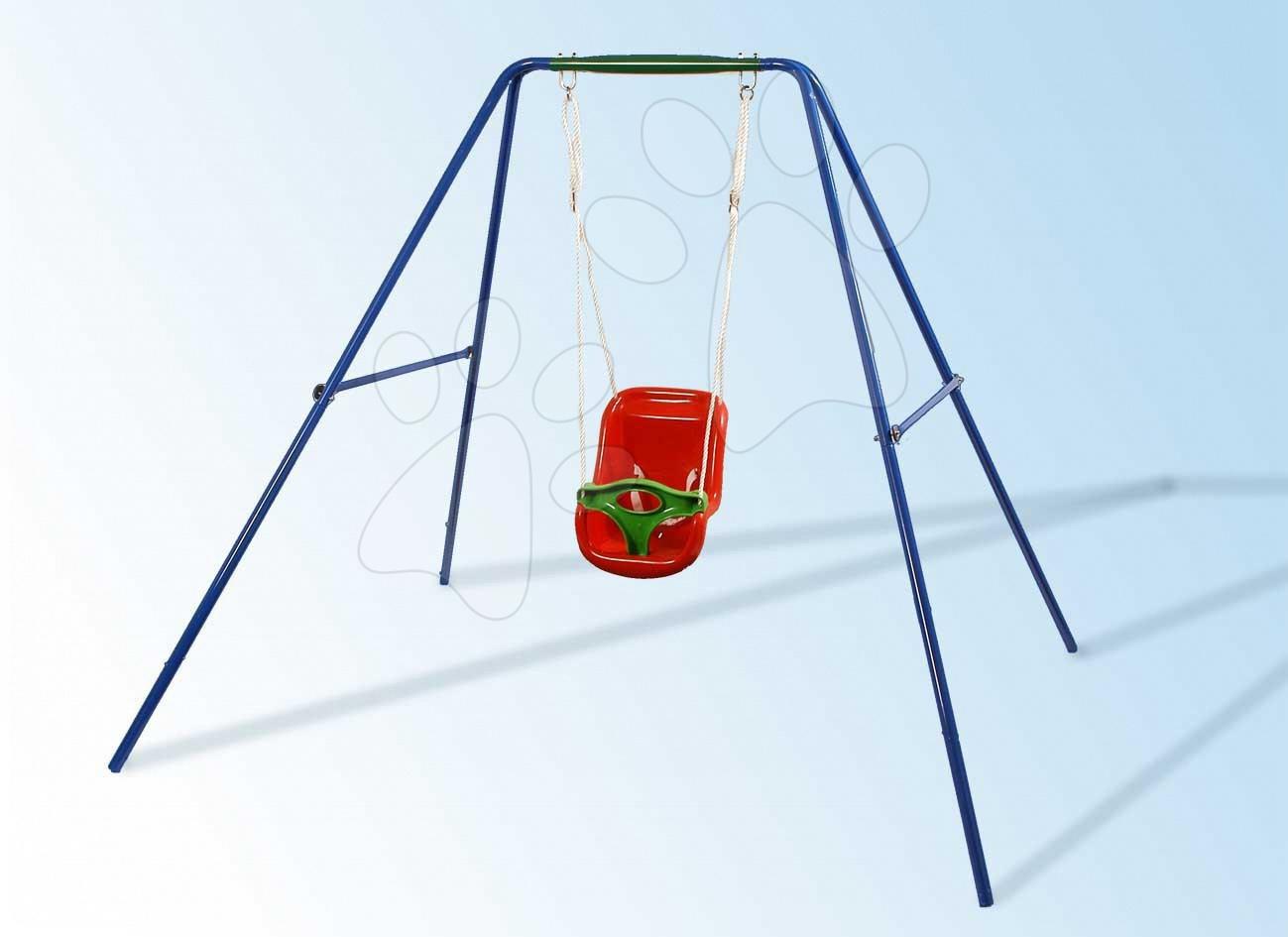 Hojdačka Baby Starplast so stojacou kovovou konštrukciou oranžovo-zelená od 6 mes