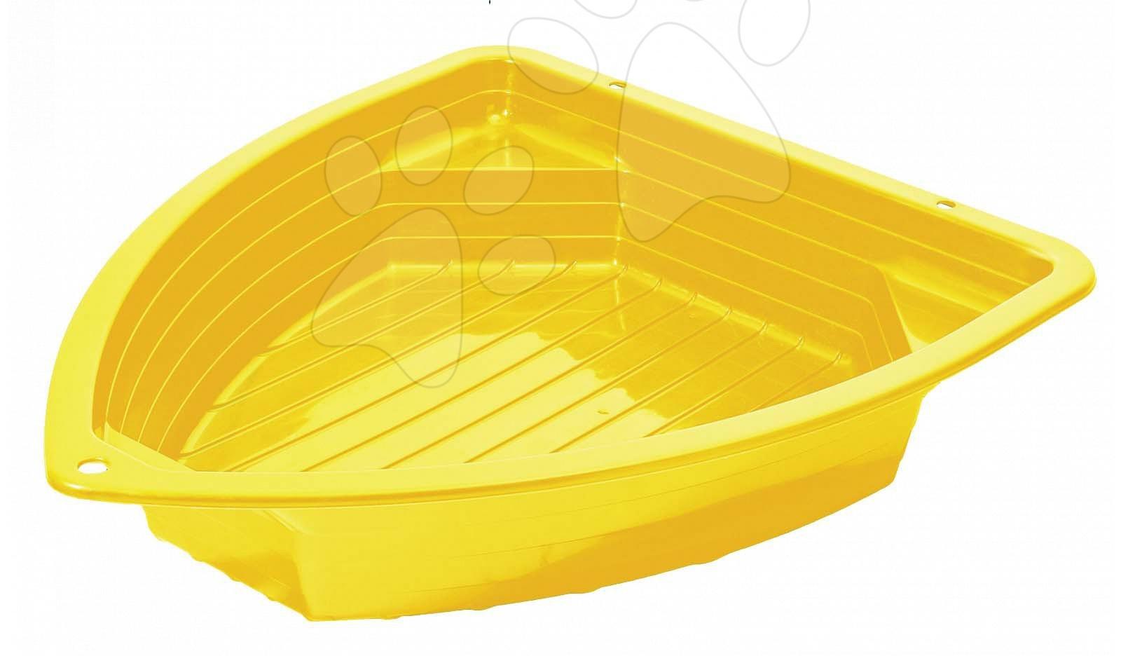 Homokozó padocskákkal Kishajó Starplast sárga (130 literes) 24 hó-tól