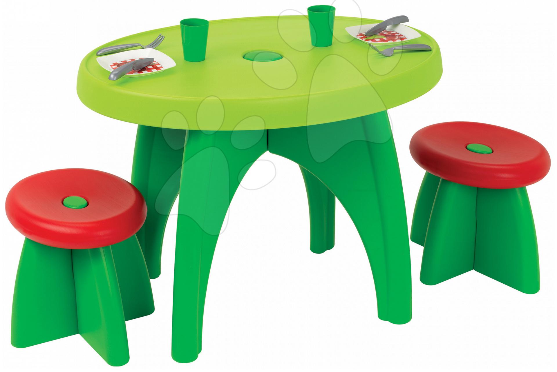 Piknikový stolík Écoiffier s dvomi stoličkami a 13 doplnkov od 18 mes