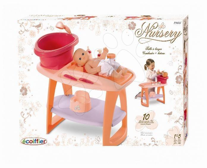 Oranžový prebaľovací stolík s kúpelňou Nursery Écoiffier 9 doplnkov od 18 mes