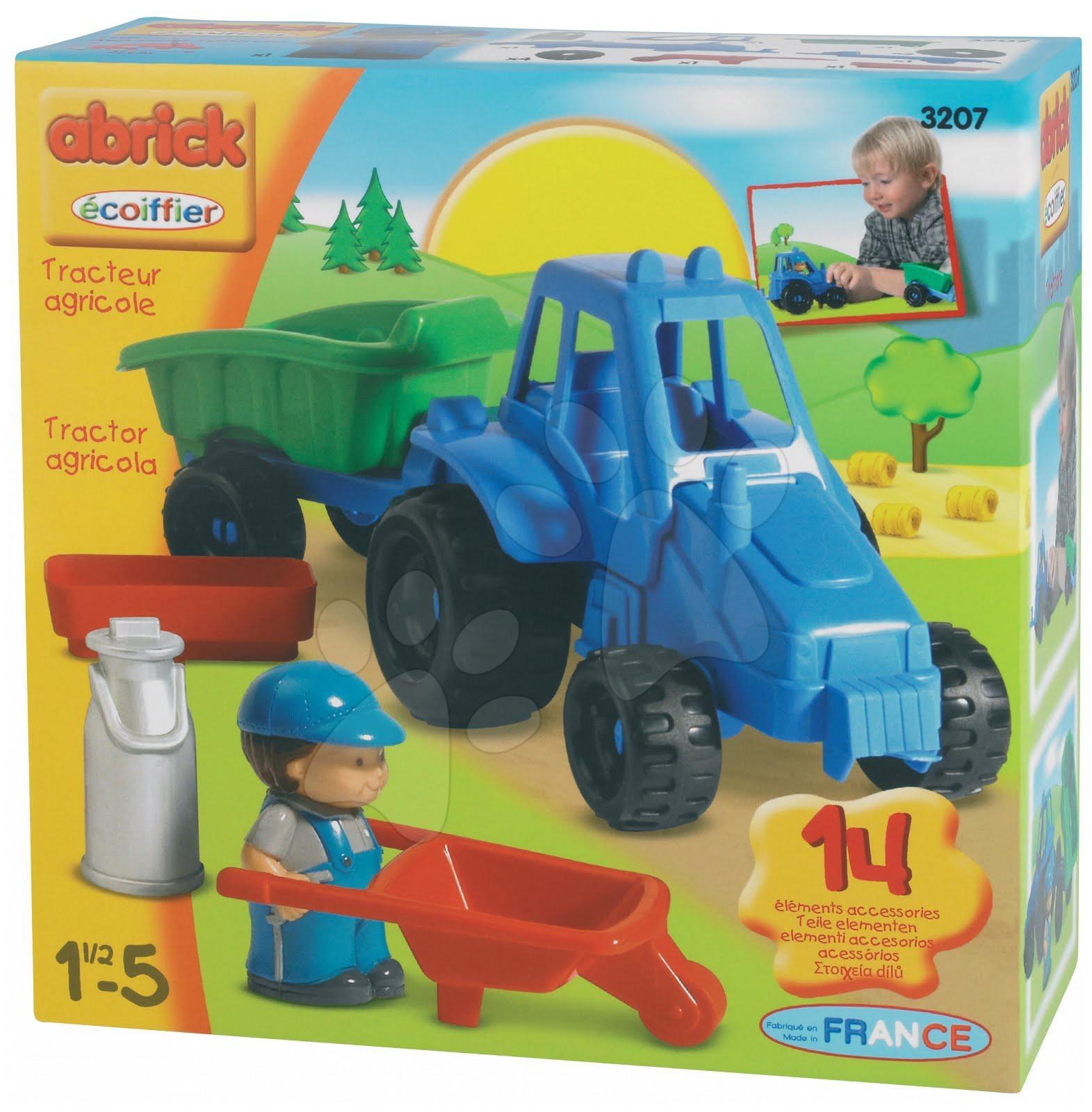 Stavebnice Abrick - traktor s přívěsem Écoiffier od 18 měsíců