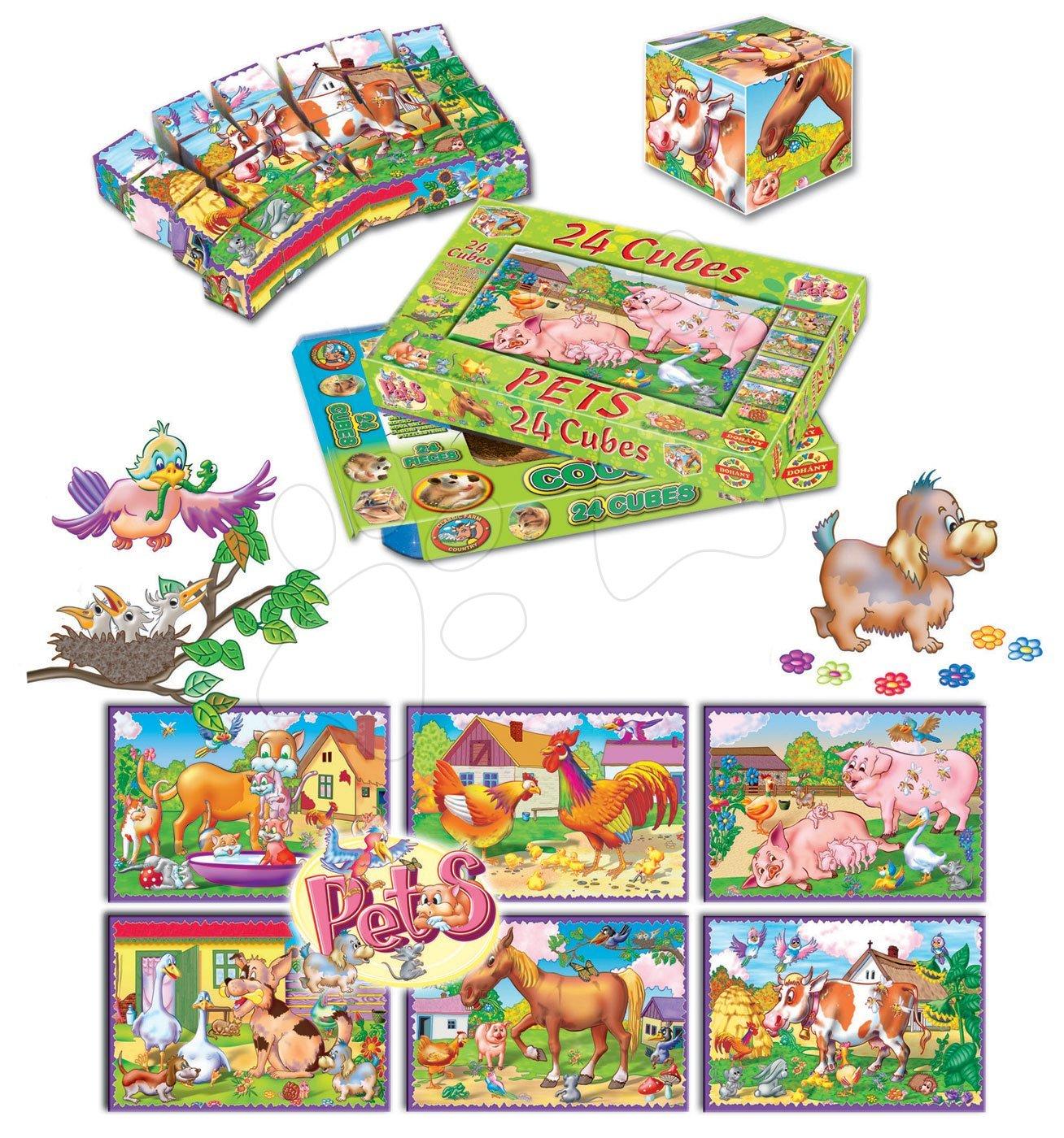 Rozprávkové kocky - Veľké rozprávkové kocky Domáce zvieratká Dohány 24 dielov