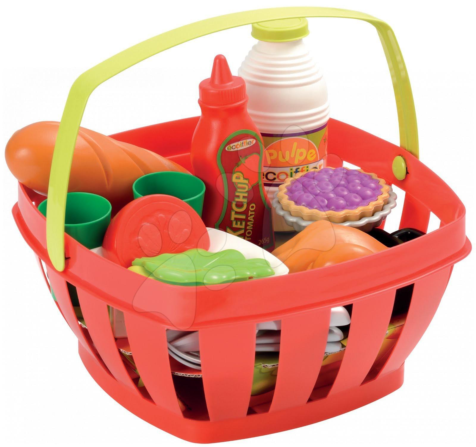 Košík na piknik Écoiffier s prestieraním a potravinami so 17 doplnkami od 18 mes