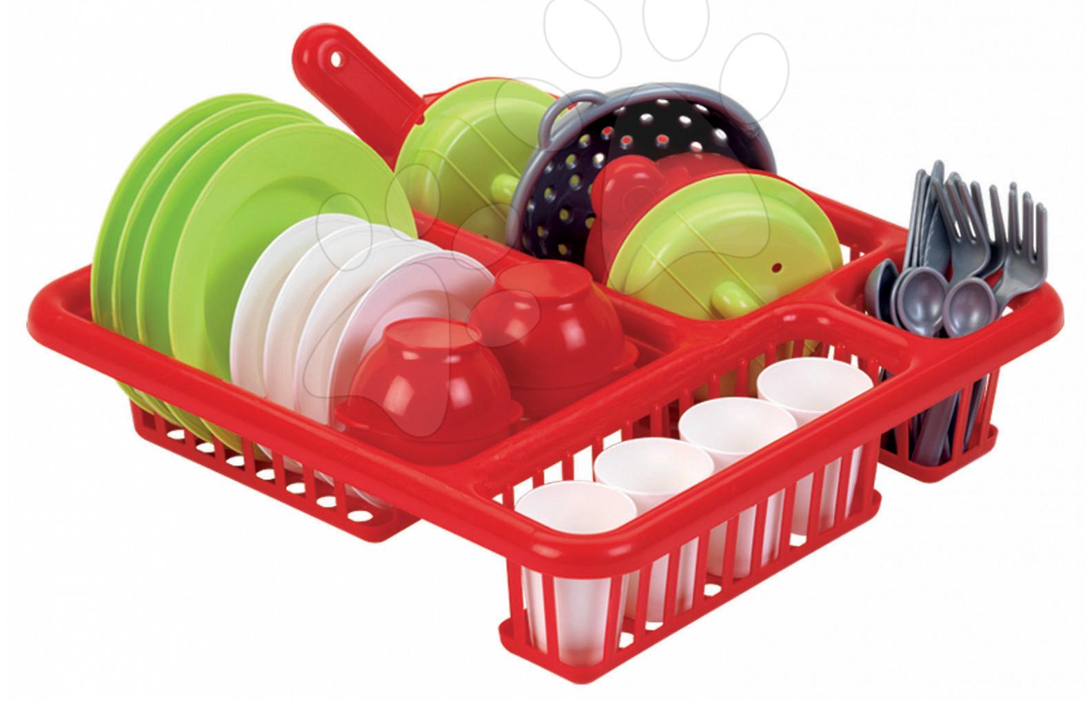 Játékkonyha kiegészítők és edények - Csepegtető tálca edényekre Bubble Cook Écoiffier kiegészítőkkel piros 18 hó-tól