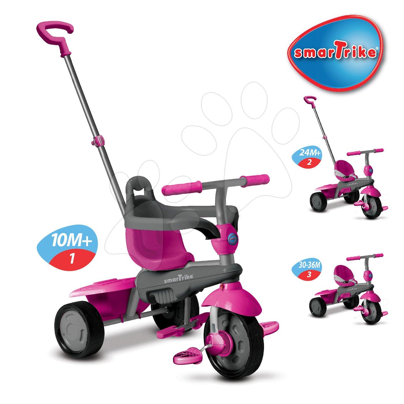 Trojkolky od 10 mesiacov - Trojkolka Breeze Touch Steering smarTrike ružovo-šedá od 10 mes