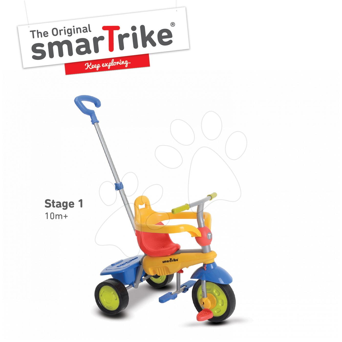 Tříkolka Breeze Touch Steering smarTrike s vodicí tyčí červeno-žlutá od 10 měsíců
