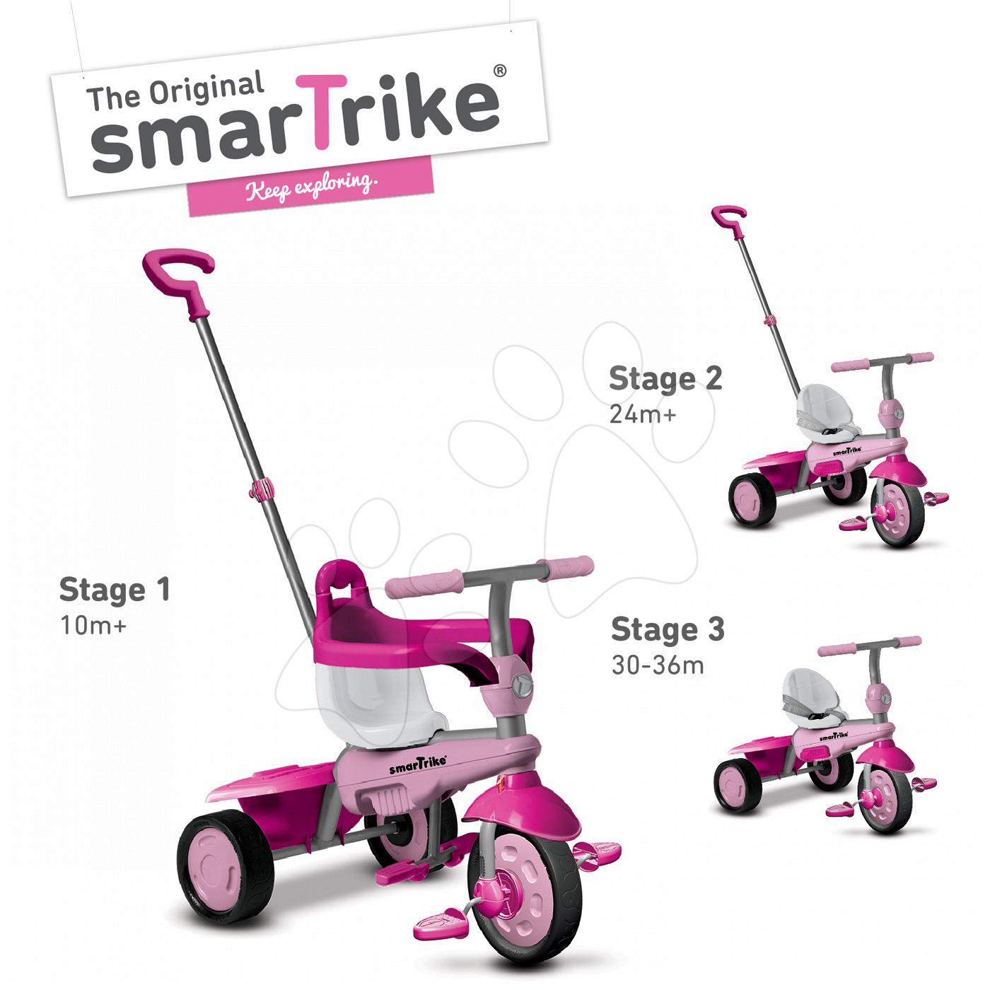 Trojkolky od 10 mesiacov - Trojkolka Breeze Touch Steering smarTrike ružovo-fialová od 10 mes