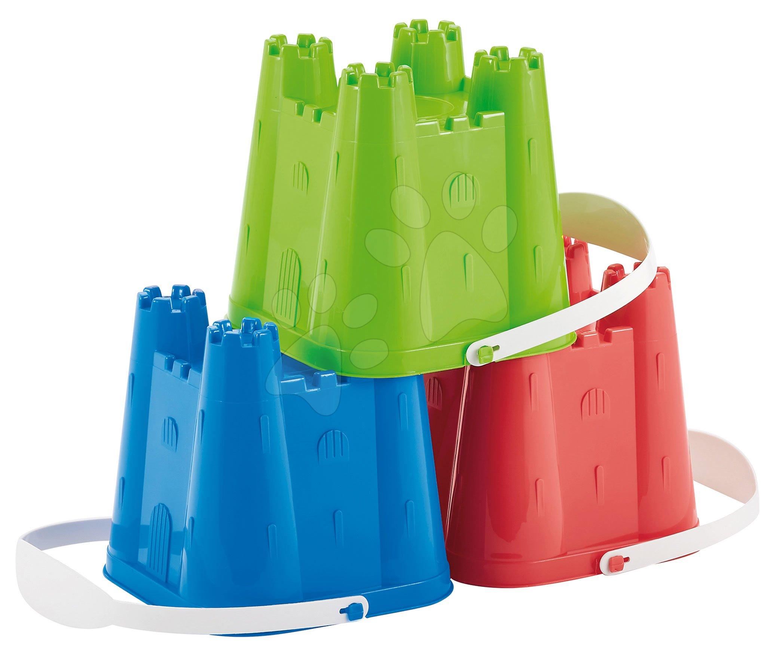 Écoiffier plastové vedierko pre deti Hrad stredné 610 červené/modré/zelené