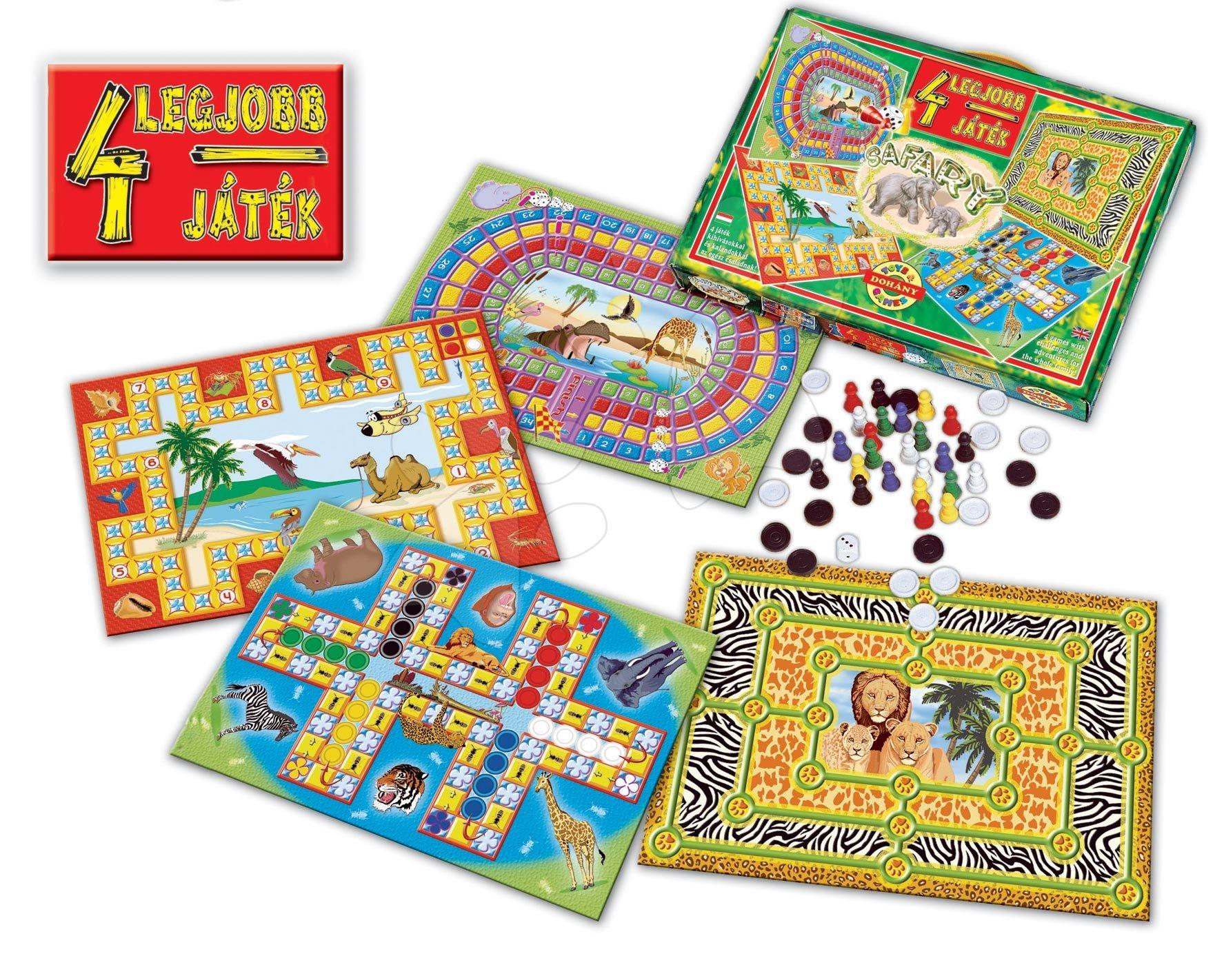 Komplet družabnih iger Safari živali 4v1 Dohány