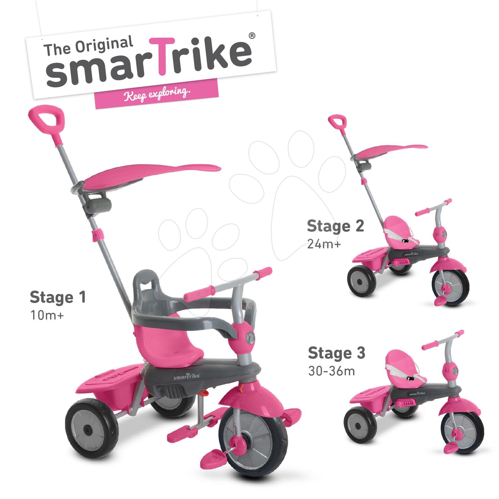 Tříkolka Carnival Pink Touch Steering 3v1 smarTrike růžovo-šedá od 10 měsíců